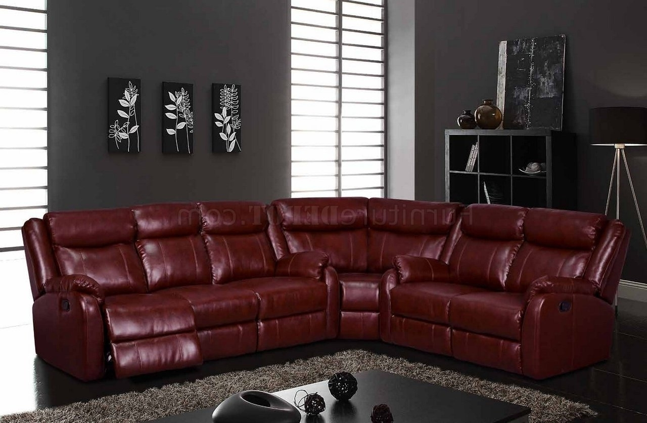 Leather Motion Sectional Sofas Pertaining To Well Known U9303 Motion Sectional Sofa In Burgundyglobal (View 8 of 20)