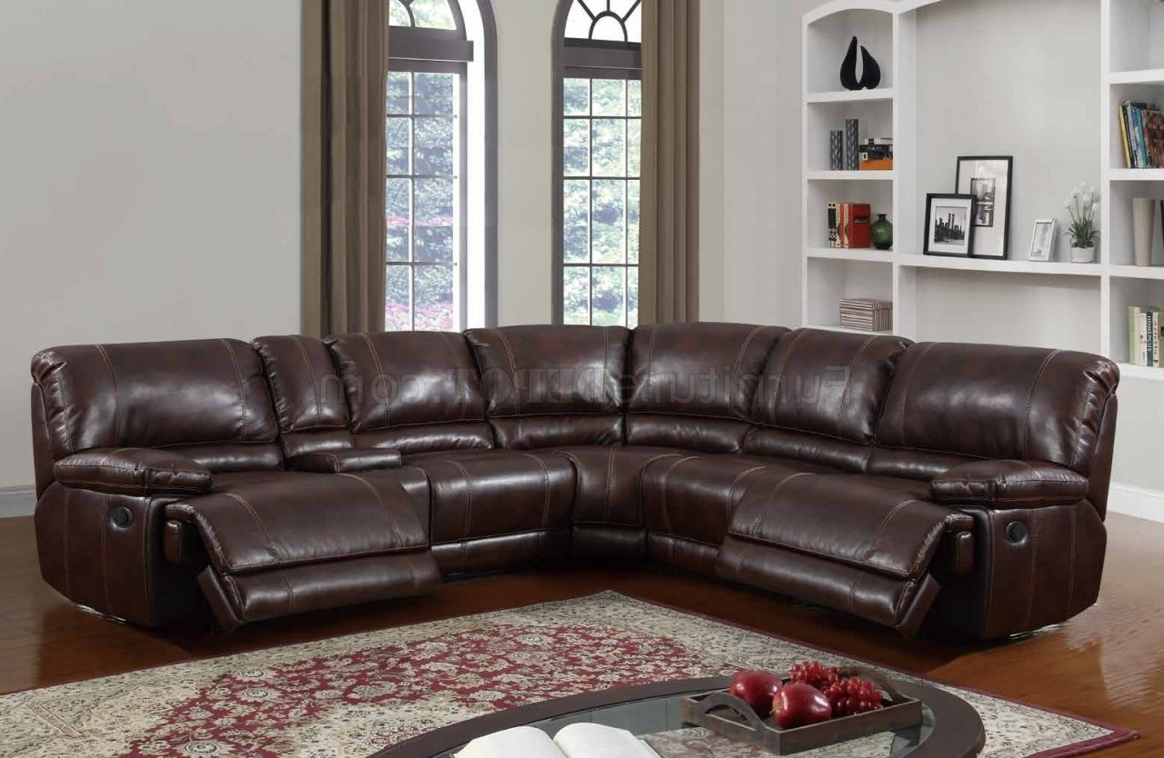 Leather Motion Sectional Sofas Throughout Recent U1953 Power Motion Sectional Sofa Brown Bonded Leatherglobal (View 9 of 20)