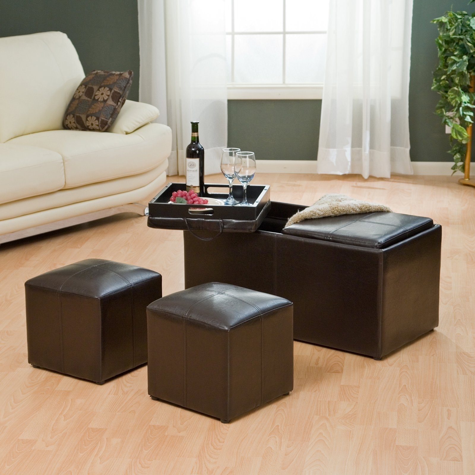 Leather Ottoman With Double Tray Table With Storage And 2 Chairs Inside Most Current Ottomans With Tray (View 6 of 20)