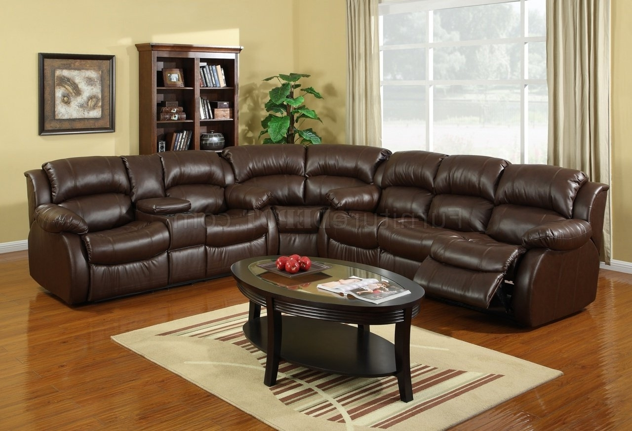Leather Recliner Sectional Sofas With Best And Newest 8002 Reclining Sectional Sofa In Brown Bonded Leather (Gallery 1 of 20)