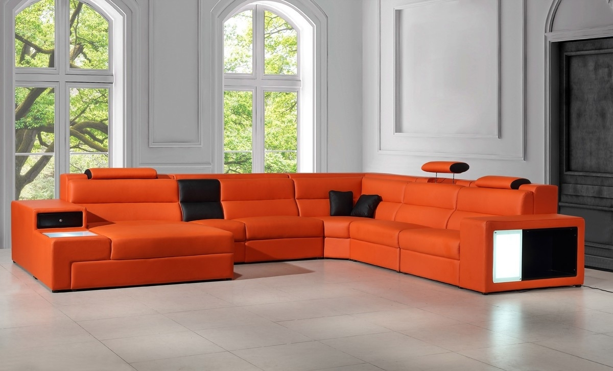 Leather Sectional Sofas Regarding Well Known Polaris Contemporary Leather Sectional Sofa With Lights (View 9 of 20)