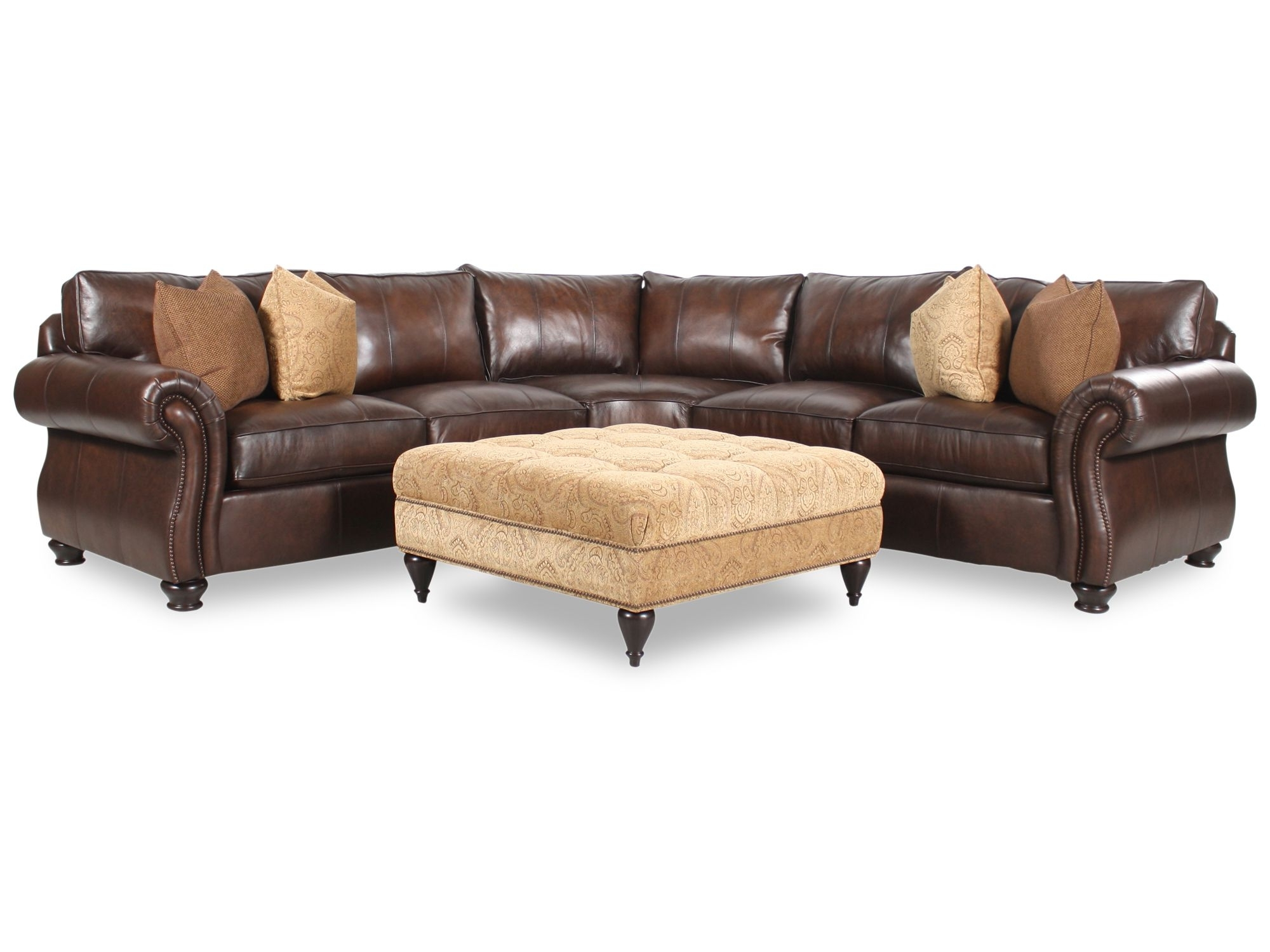 Leather Sectional Sofas With Ottoman Regarding 2019 Bernhardt Van Gogh Two Piece Leather Sectional With Square Fabric (View 9 of 20)