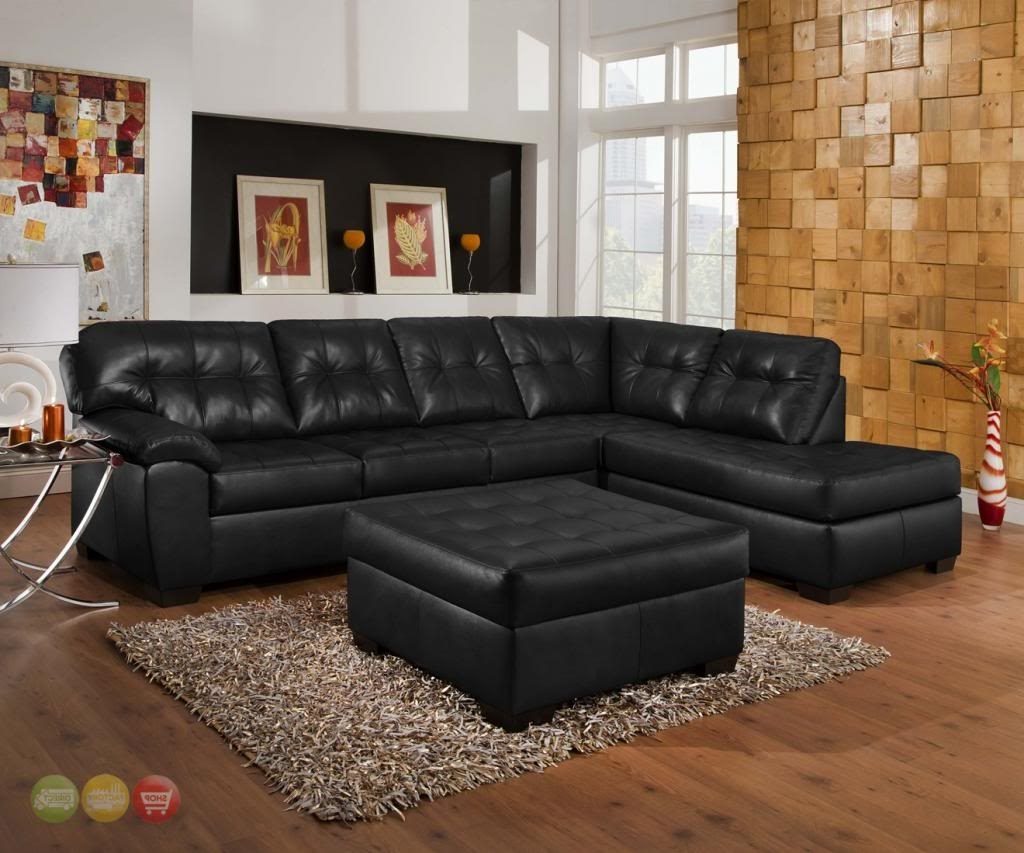 Leather Sectional Sofas With Ottoman Regarding Fashionable Soho Contemporary Tufted Black Bonded Leather Sectional Sofa (View 10 of 20)