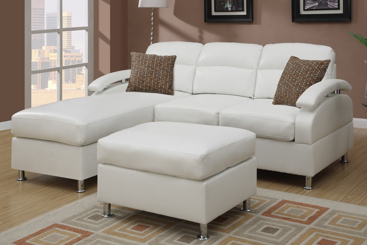 Leather Sectionals With Chaise And Ottoman Within Preferred L Shape White Leather Sofa With Brown Cushions Also Silver Steel (View 17 of 20)
