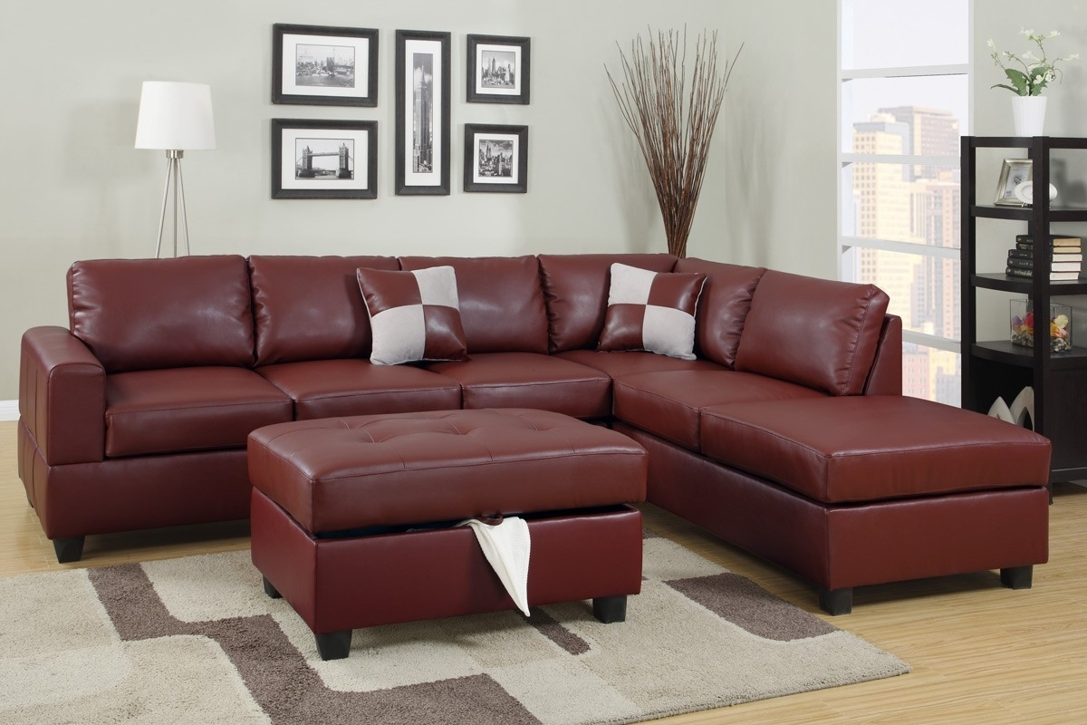 Leather Sectionals With Ottoman In Widely Used Burgundy Bonded Leather Sectional Sofa With Reversible Chaise Free (View 18 of 20)
