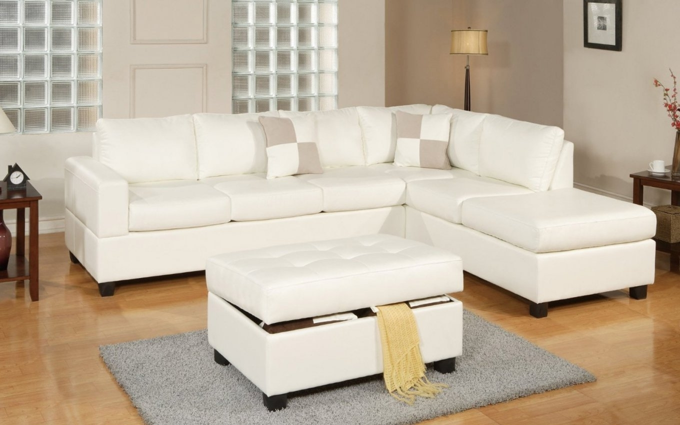 Leather Sectionals With Ottoman Pertaining To Well Known White Leather Sectional Sofa With Ottoman (View 13 of 20)