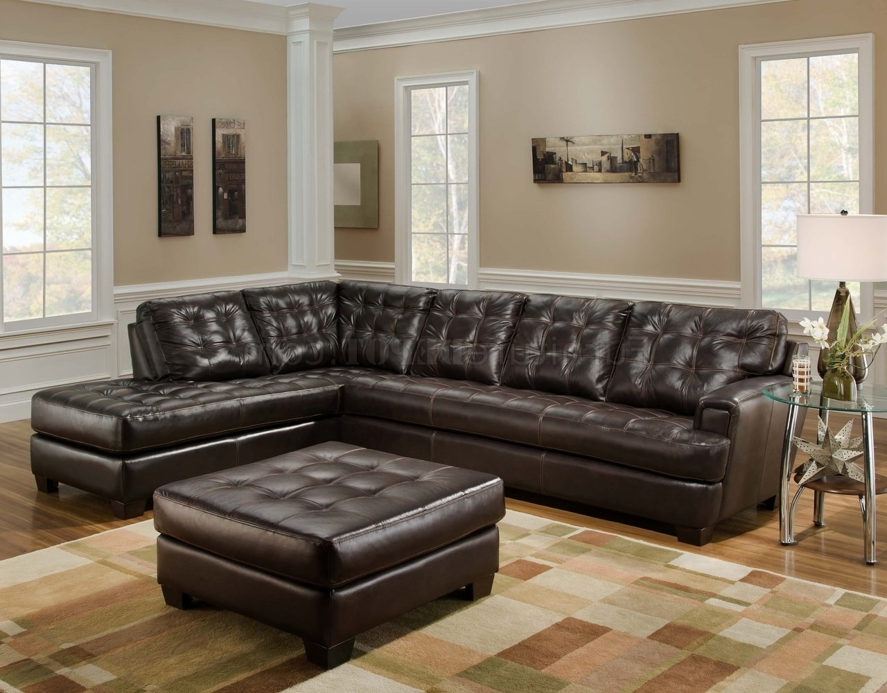 Leather Sectionals With Ottoman Throughout Most Recent Chicory Brown Tufted Top Grain Leather Modern Sectional Sofa (View 14 of 20)