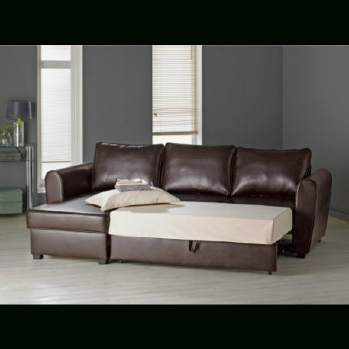 Leather Sofas With Storage Inside Most Popular Siena Leather Effect Corner Sofa Bed With Storage  Chocolate (View 11 of 20)