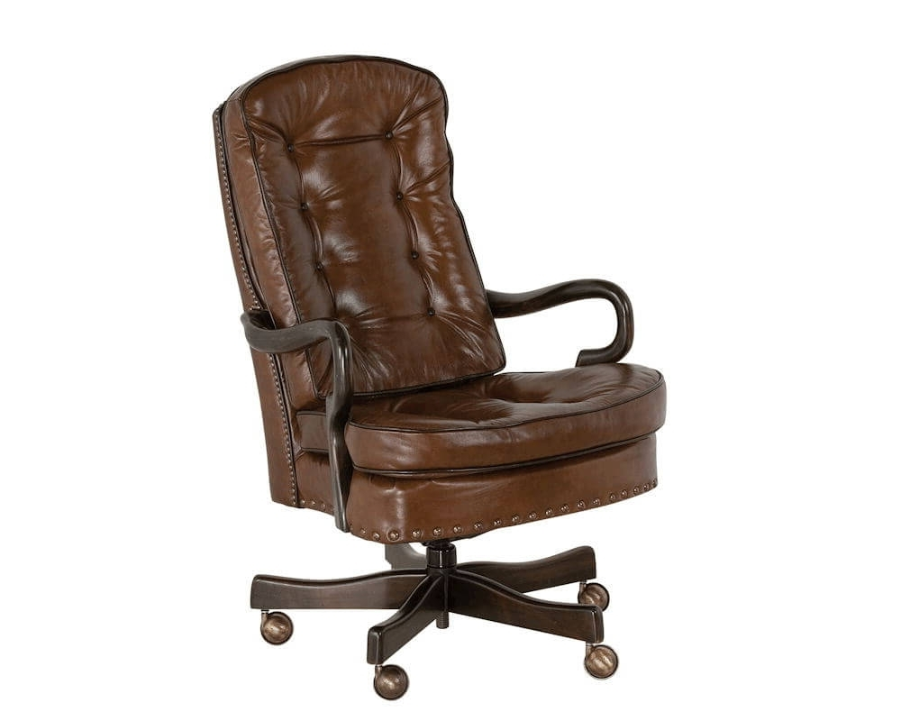 Leather Swivel Recliner Executive Office Chairs Within Most Recent Goose Neck Tufted Swivel Tilt Office Chair Classic Leather 706 St (View 8 of 20)