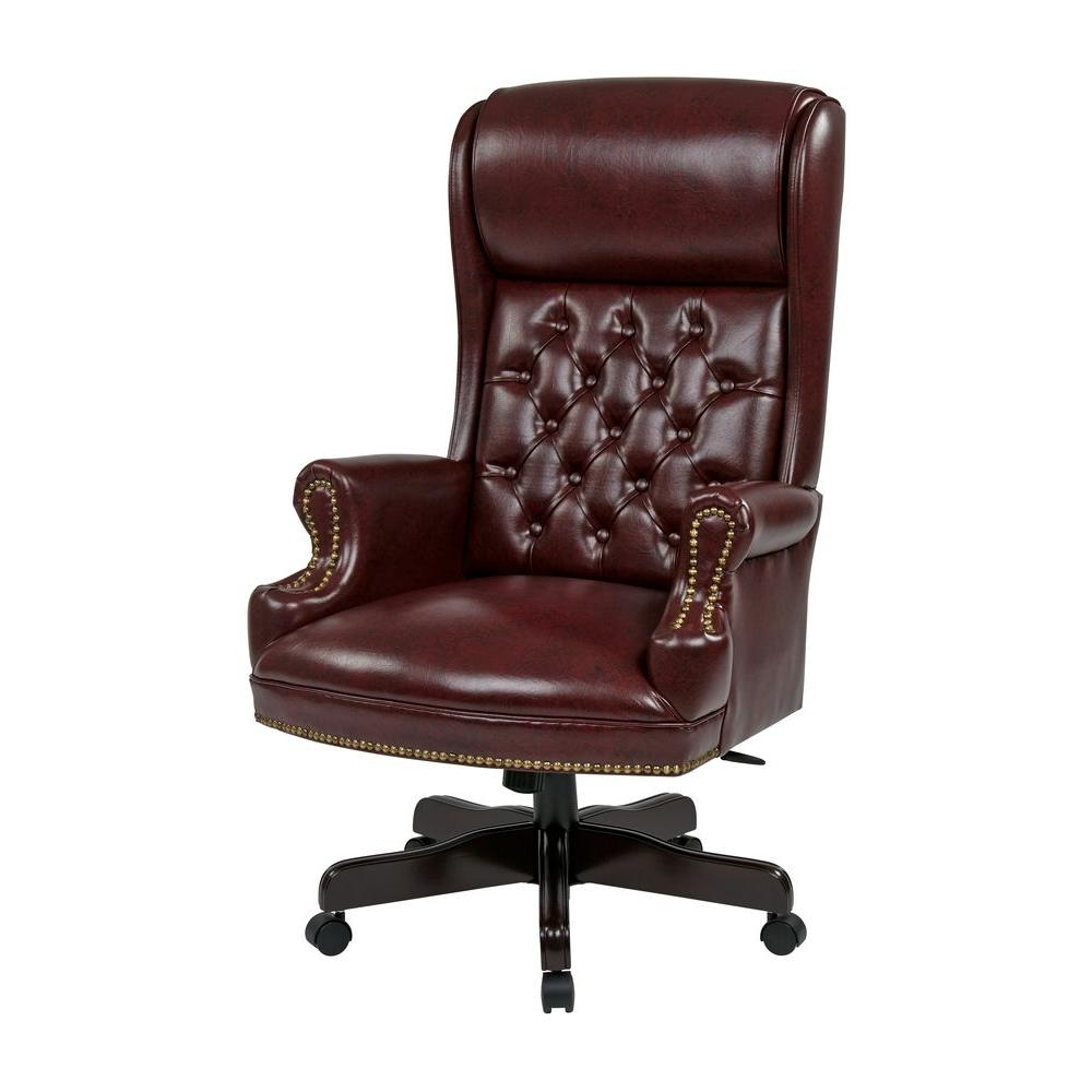 Leather Swivel Recliner Executive Office Chairs Within Most Up To Date Work Smart Oxblood Vinyl High Back Executive Office Chair Tex (View 9 of 20)