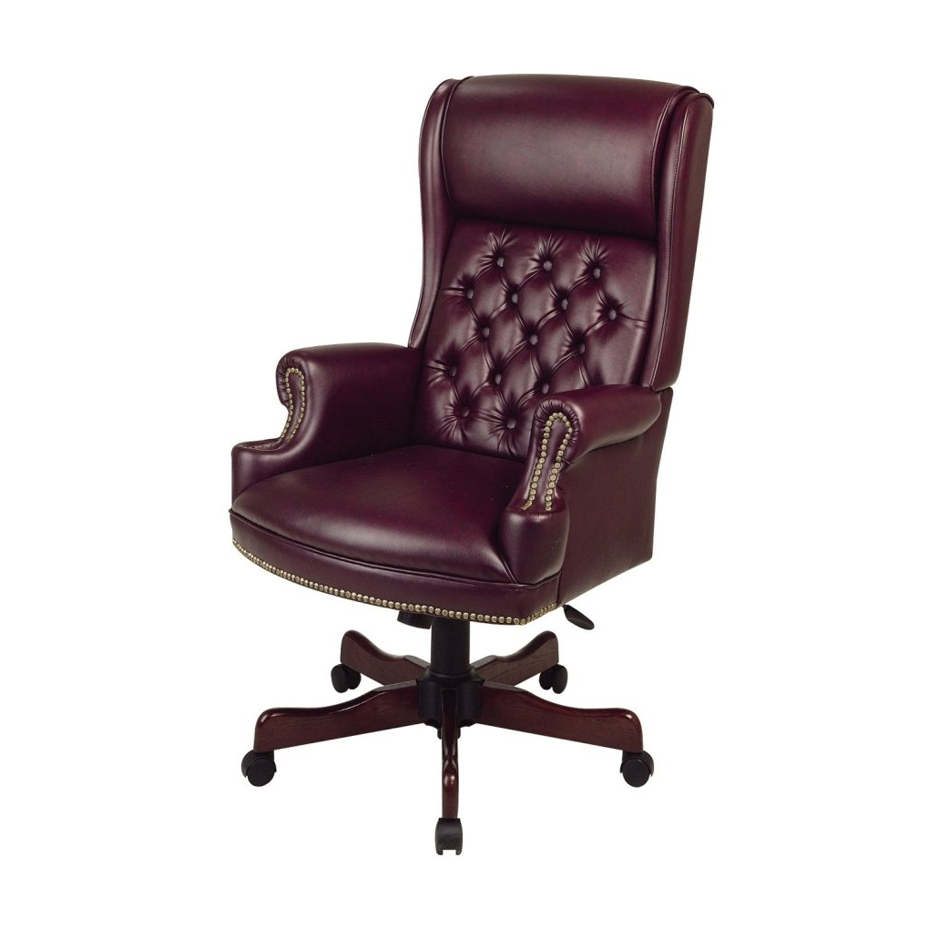 Leather Wood Executive Office Chairs For Most Popular Office: Office Chairs Ideas With Maroon Leather Executive Chair (View 6 of 20)