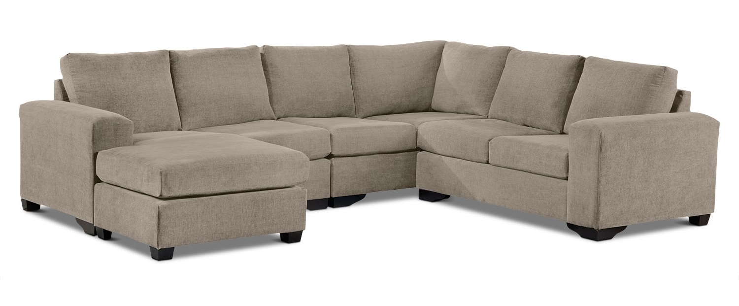 Leons Sectional Sofas Regarding Most Recent Danielle 3 Piece Sectional With Right Facing Corner Wedge – Pewter (View 7 of 20)