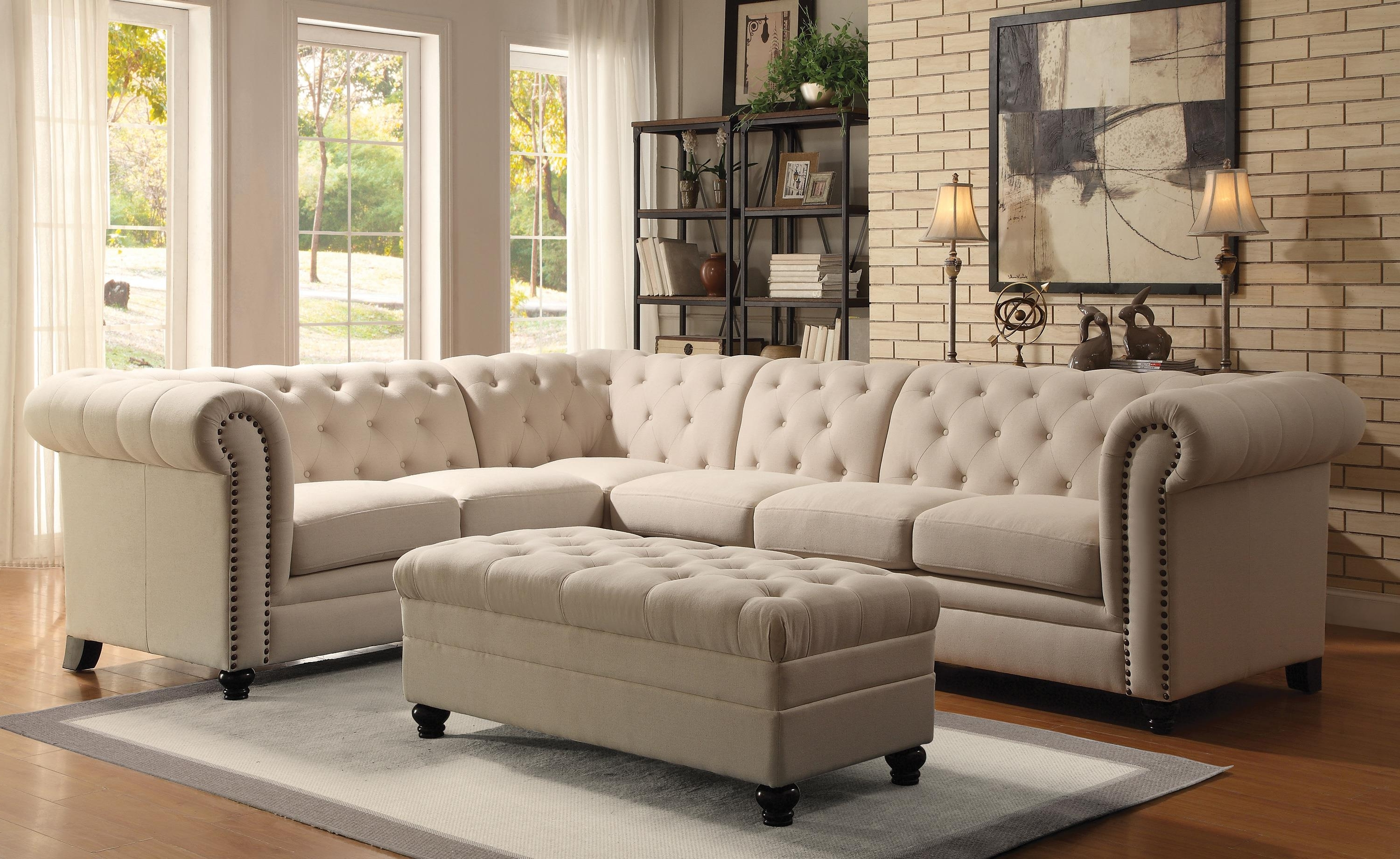 Light Brown Fabric Ashley Furniture Sectional L Sofa Sleeper With Within 2018 Ashley Tufted Sofas (View 14 of 20)