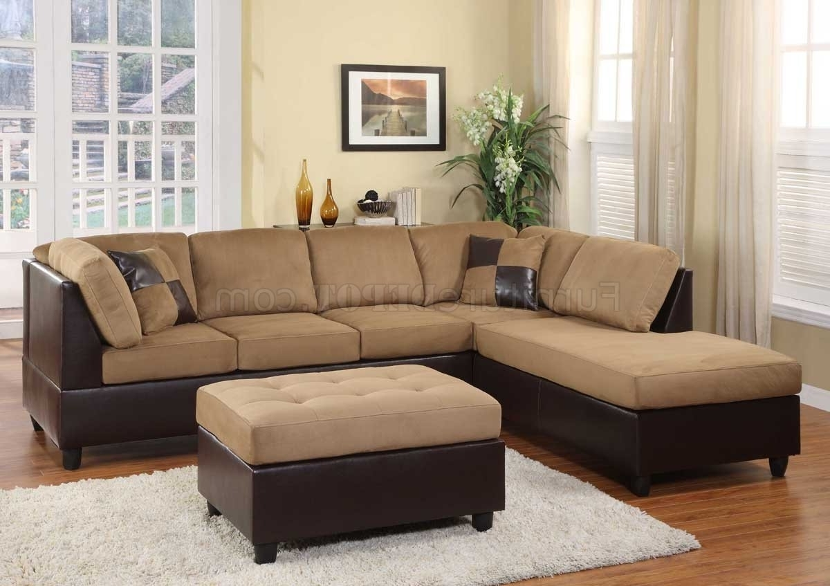 Light Brown Microfiber Modern Sectional Sofa W/ottoman With Best And Newest Modern Microfiber Sectional Sofas (View 18 of 20)