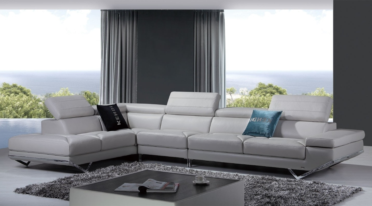 Light Grey Sectional Sofas For Latest Furniture: Modern Leather Sectional Sofa Living Room And Modern (View 8 of 20)