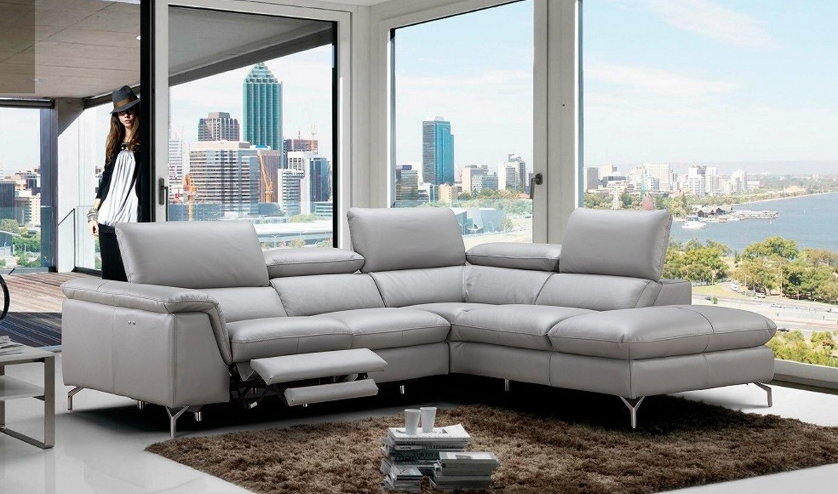 Light Grey Sectional Sofas For Widely Used Viola Premium Leather Sectional Sofa In Light Grey (Gallery 1 of 20)