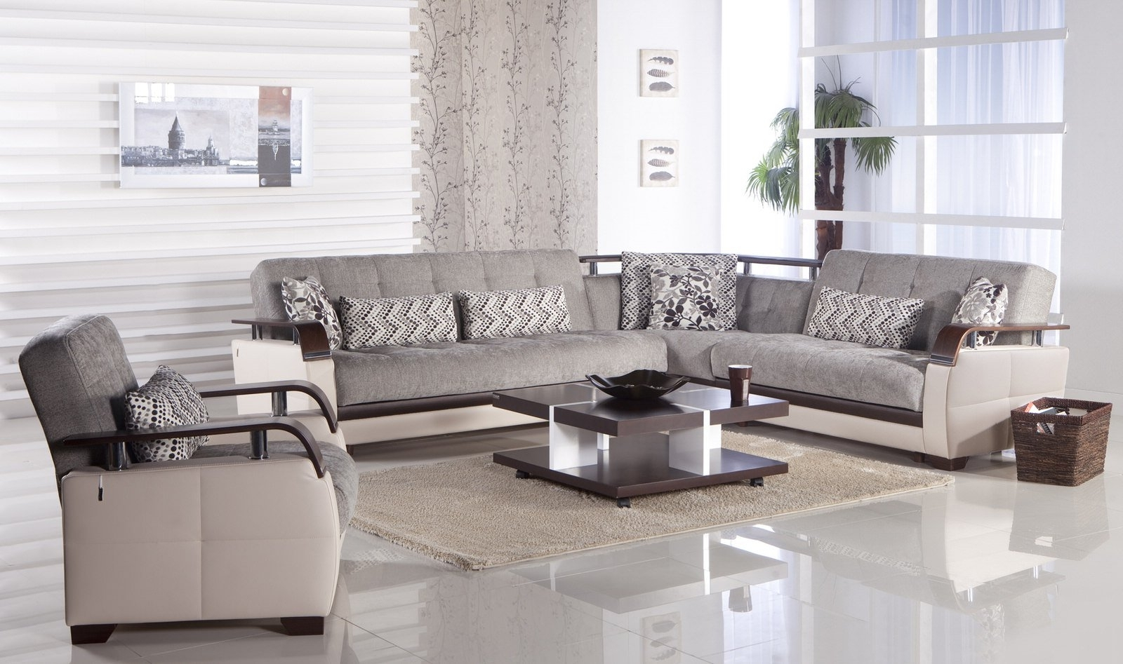 Light Grey Sectional Sofas Pertaining To Well Known Natural Valencia Grey Sectional Sofaistikbal (sunset) (Gallery 8 of 20)