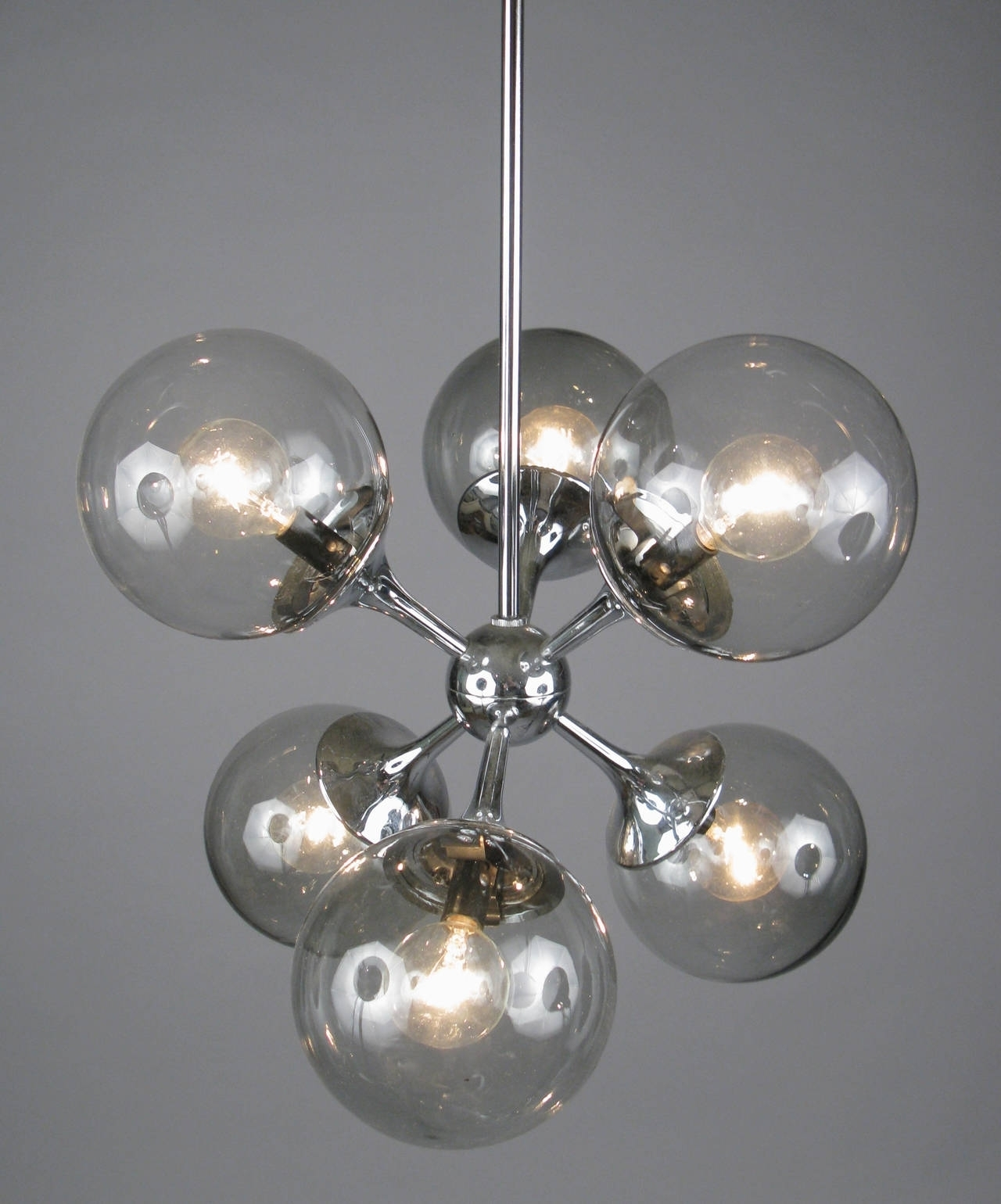 Light : Modern Glass Chandelier Lighting Vintage Chrome And Smoked In Latest Smoked Glass Chandelier (View 7 of 20)