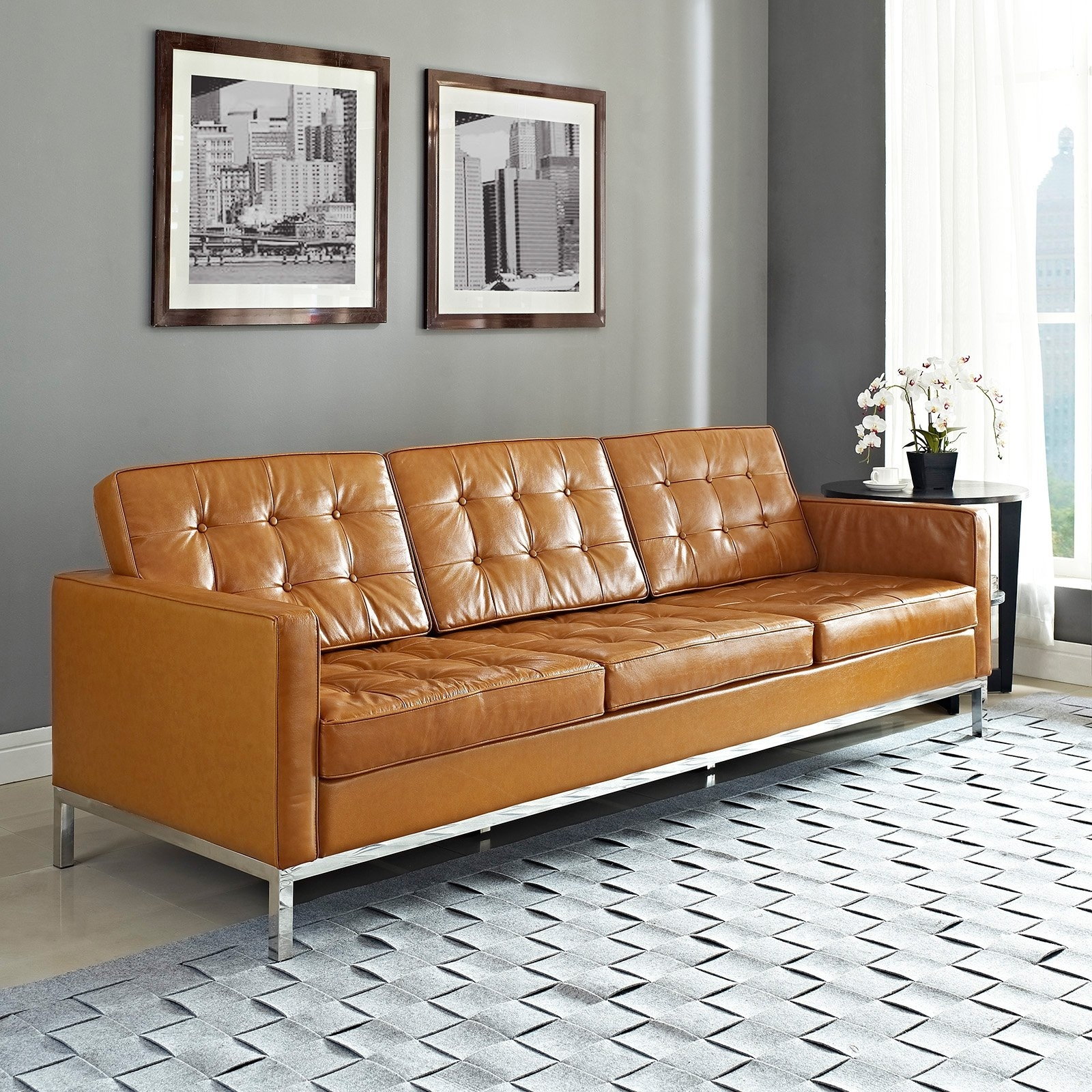 Light Tan Leather Sofas With Regard To 2019 Modway Loft Leather Sofa (View 8 of 20)