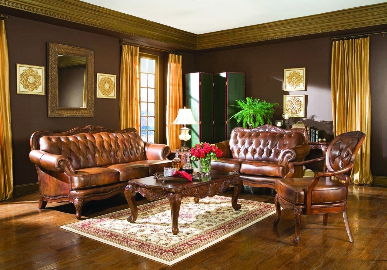 Living Room : Elegant Victorian Style Living Room Design With Gold Inside Most Recent Victorian Leather Sofas (View 6 of 20)