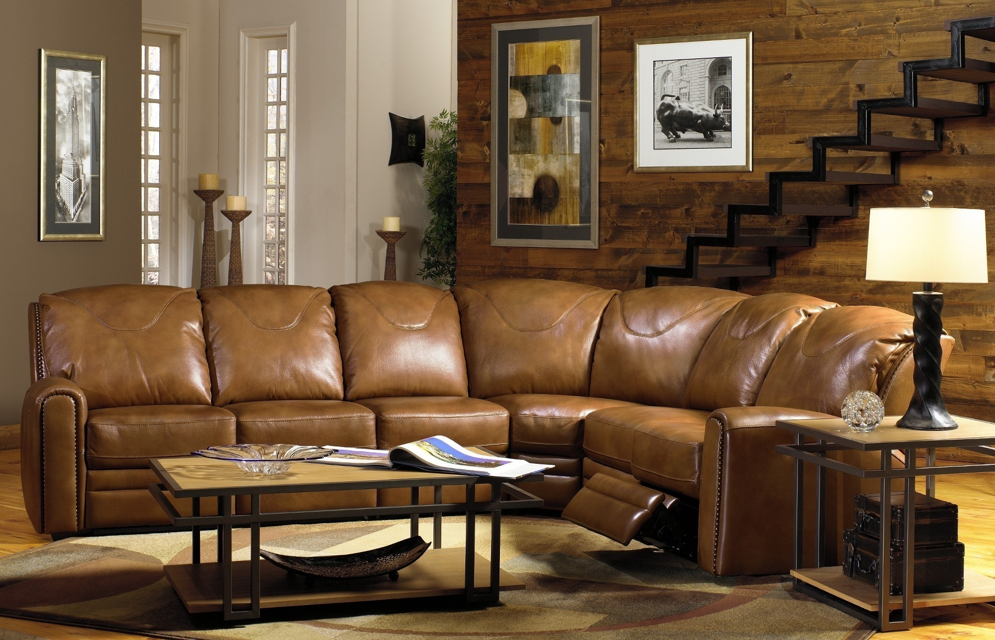 Living Room Furniture L Shaped Light Brown Genuine Leather Regarding Famous Killeen Tx Sectional Sofas (View 13 of 20)