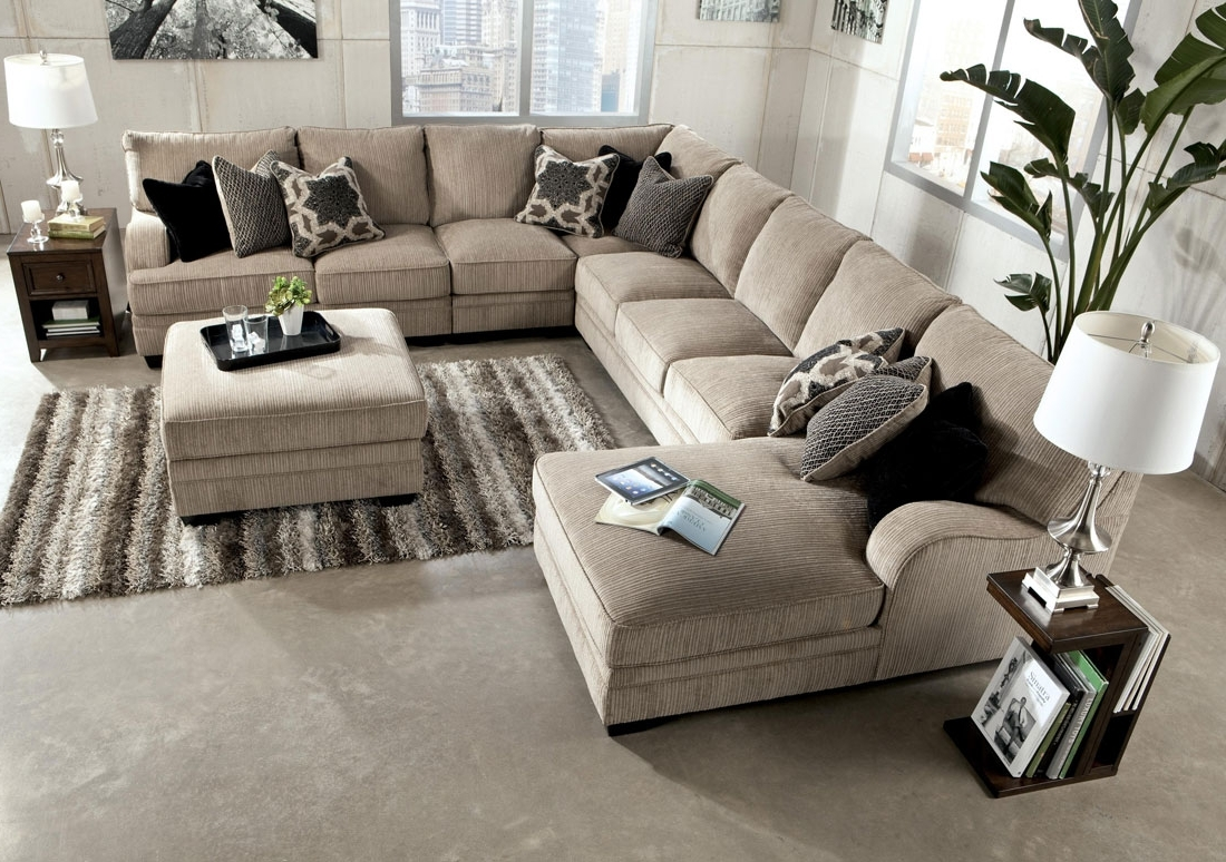 Living Room : Living Room Furniture Shabby Chic Brown Leather Inside 2019 Leather Sectionals With Chaise And Ottoman (View 14 of 20)