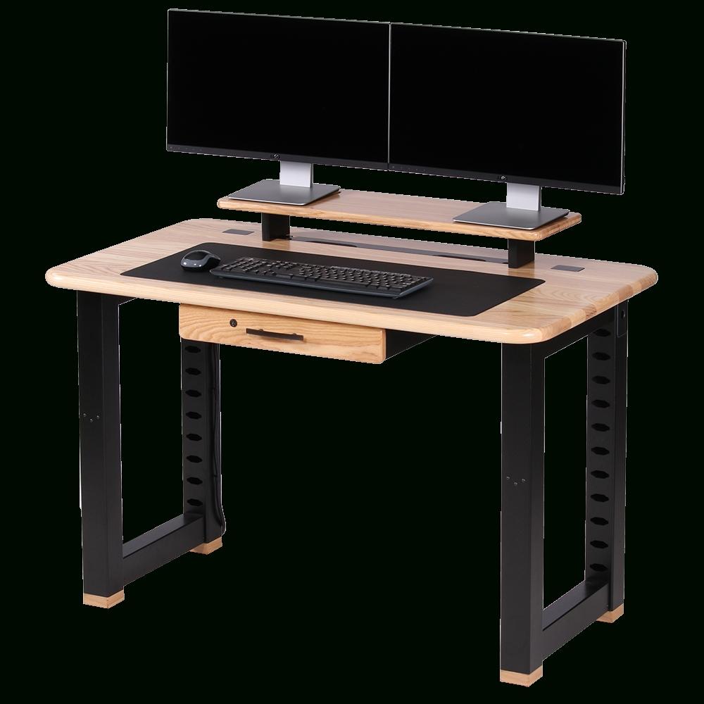 Loft Computer Desk, Ash – Caretta Workspace Inside Current Computer Desks For Two Monitors (View 7 of 20)