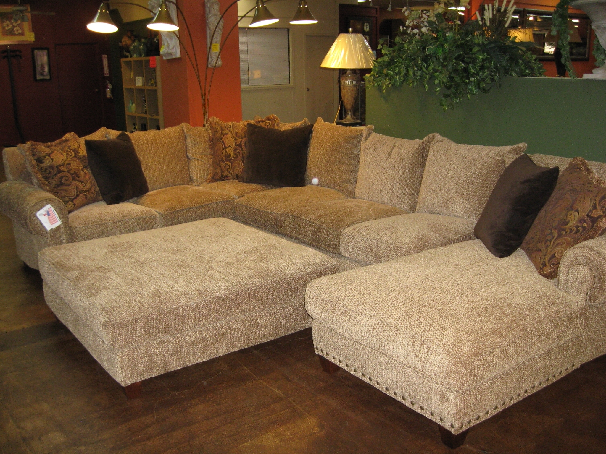 Long Sectional Sofas With Chaise Within Most Up To Date Living Room: John Michaels Large Butterscotch Laf Sectional Couch (View 16 of 20)