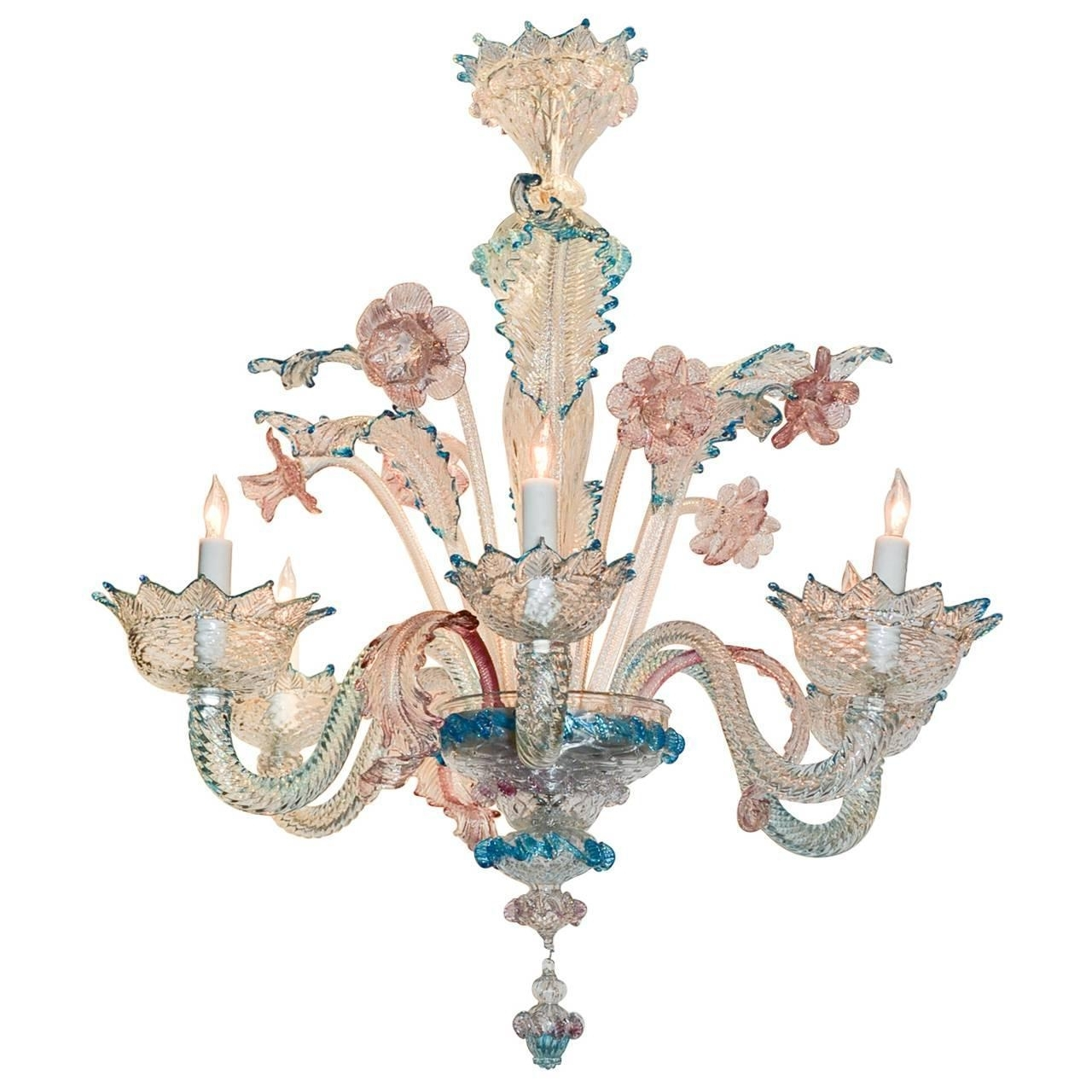 Lovely Antique Blue And Pink Murano Glass Chandelier At 1stdibs Throughout Favorite Turquoise Blue Glass Chandeliers (View 16 of 20)