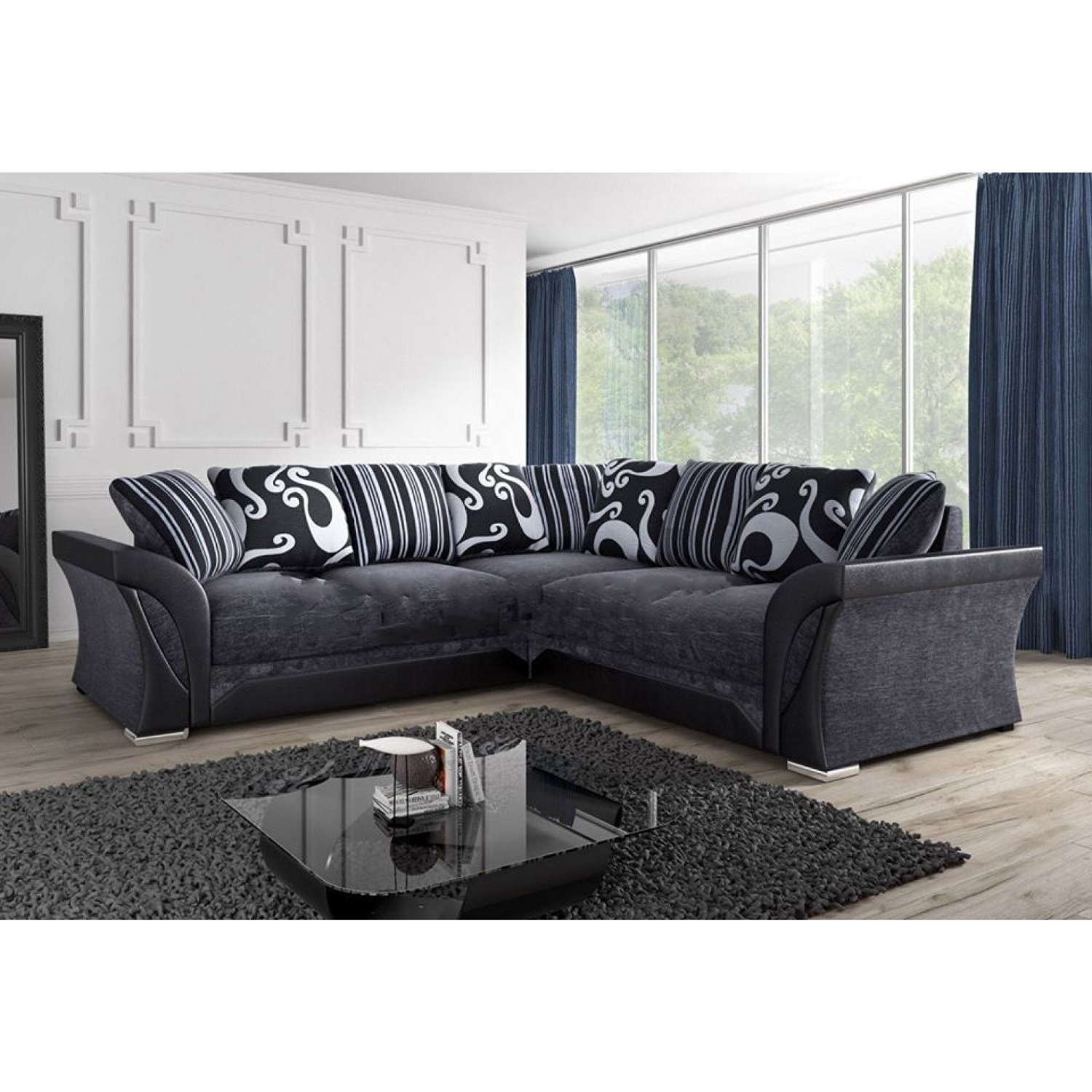 Lovely Corner Sofa Black And Grey – Mediasupload Pertaining To Most Recent Fabric Corner Sofas (View 13 of 20)