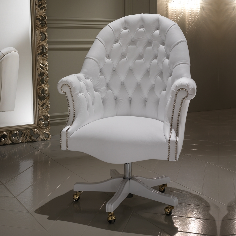 Luxury Italian White Leather Executive Office Chair (View 9 of 20)