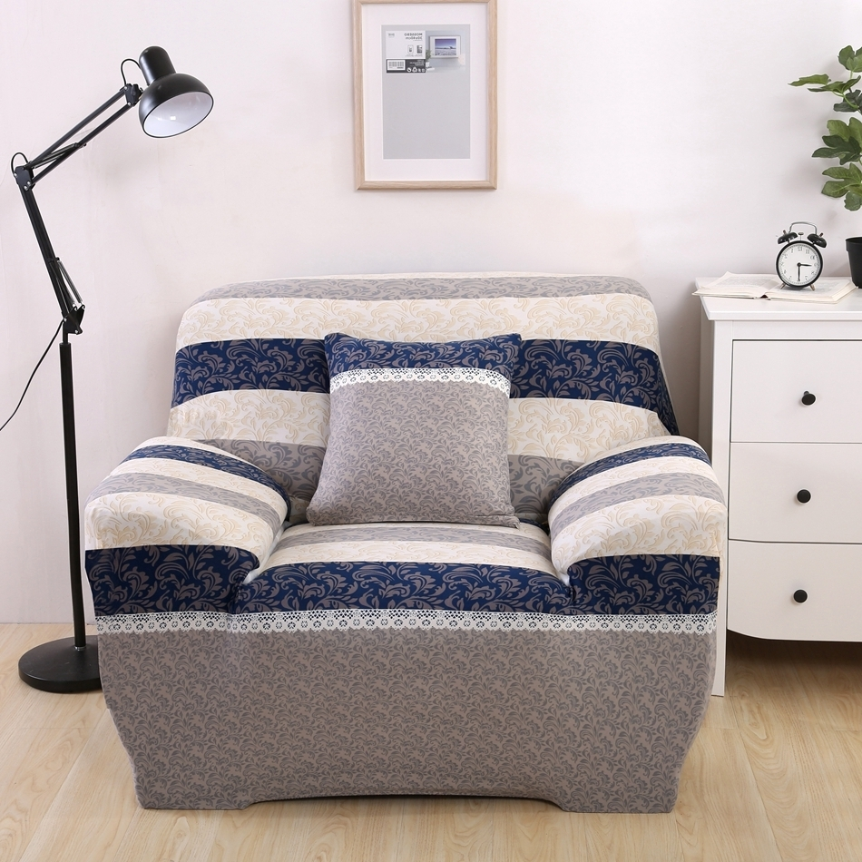 Luxury Reclining Sofa Covers Modern Design Washable Stripe Brief Throughout 2018 Sofas With Washable Covers (View 15 of 20)