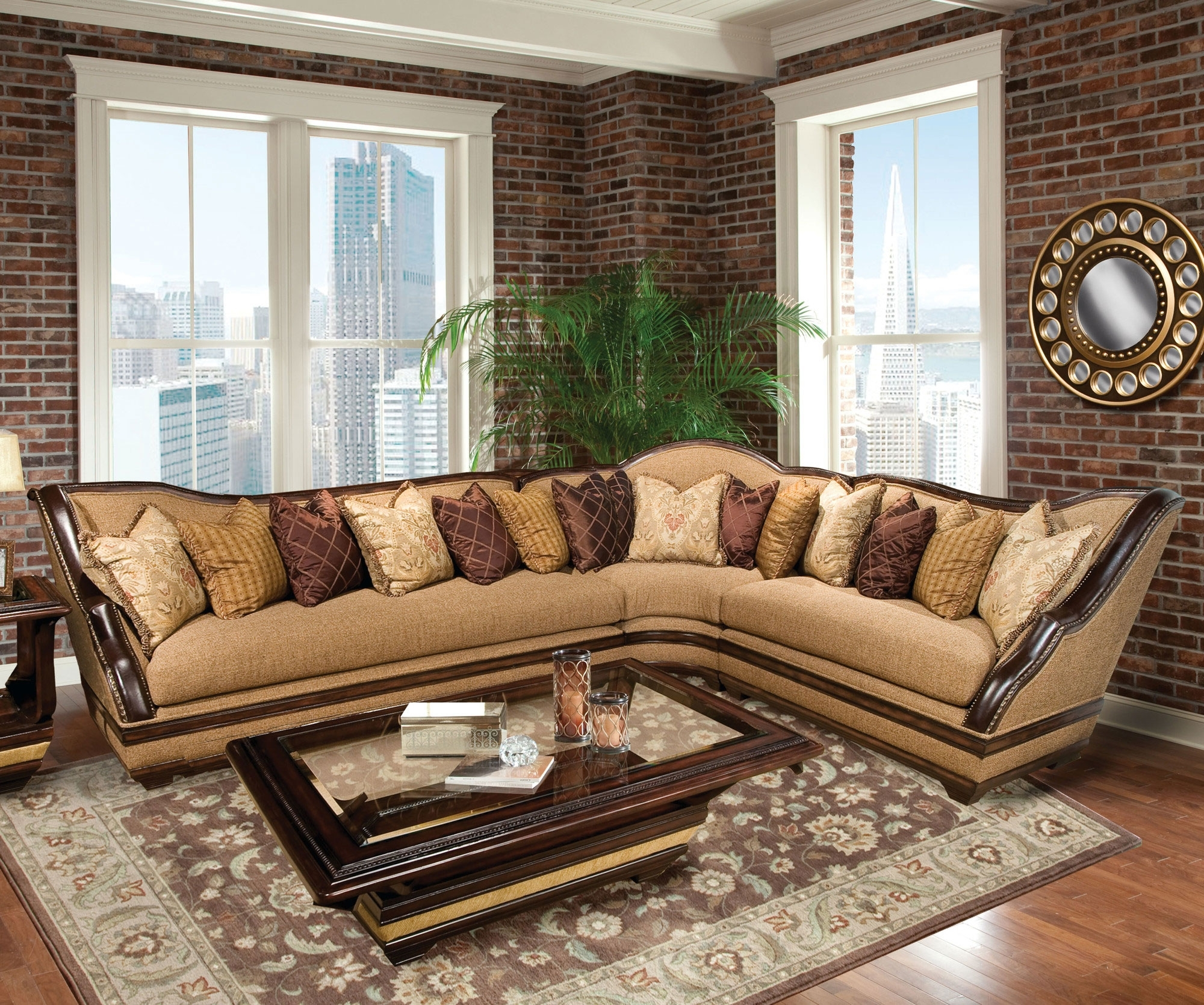 Macon Ga Sectional Sofas Pertaining To Recent Benetti's Italia Beladonna Wood Trim Sectional Sofa Set The (View 14 of 20)