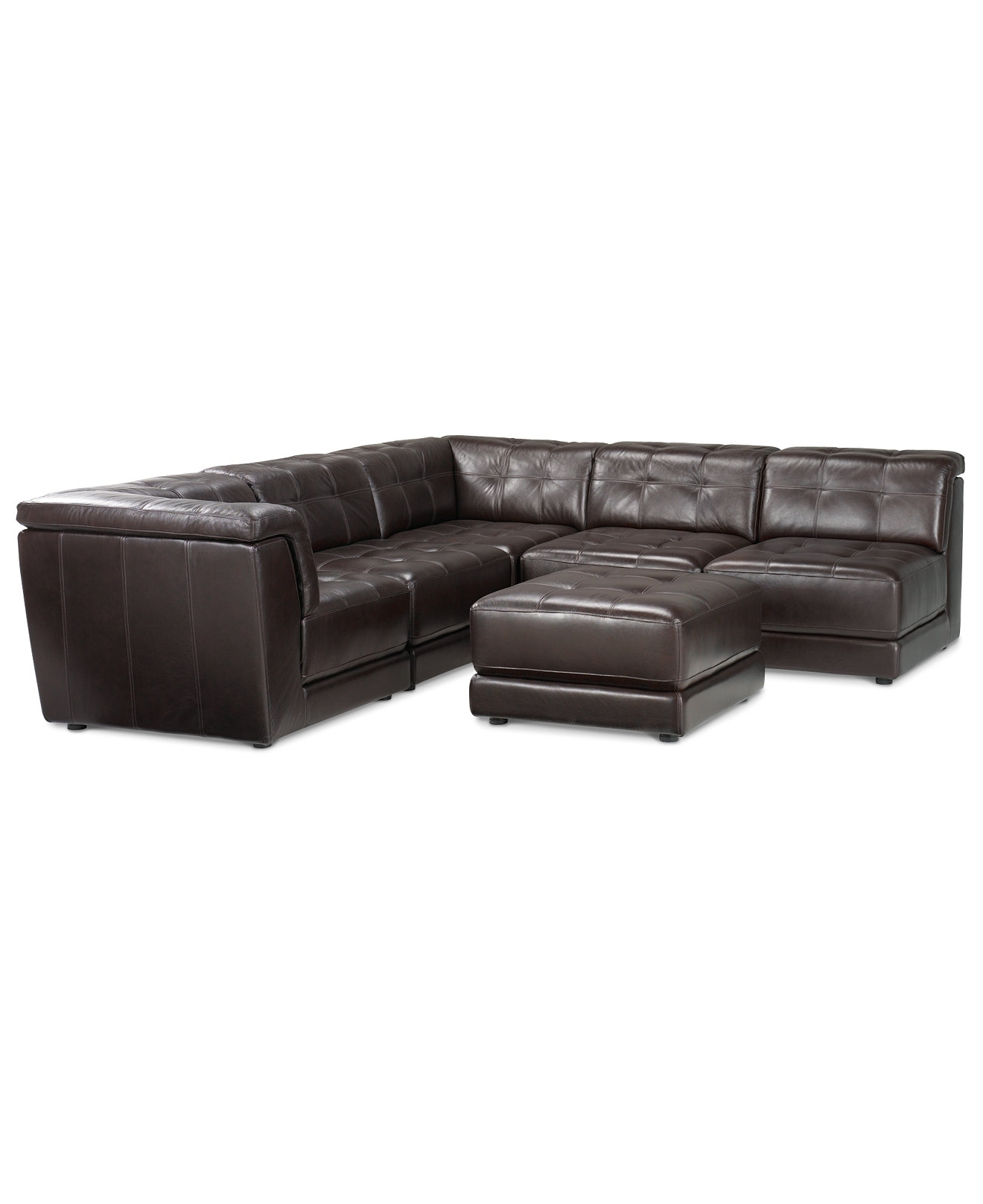 Macys Leather Sectional Sofas For Recent Stacey Leather 6 Piece Modular Sectional Sofa (3 Armless Chairs,  (View 7 of 20)