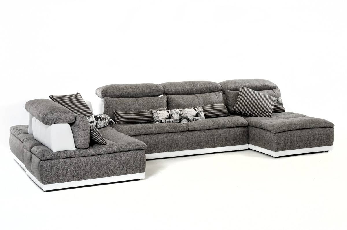 Made In Italy Grey Fabric And White Leather Sectional Sofa El Paso With Most Recently Released El Paso Sectional Sofas (View 2 of 20)