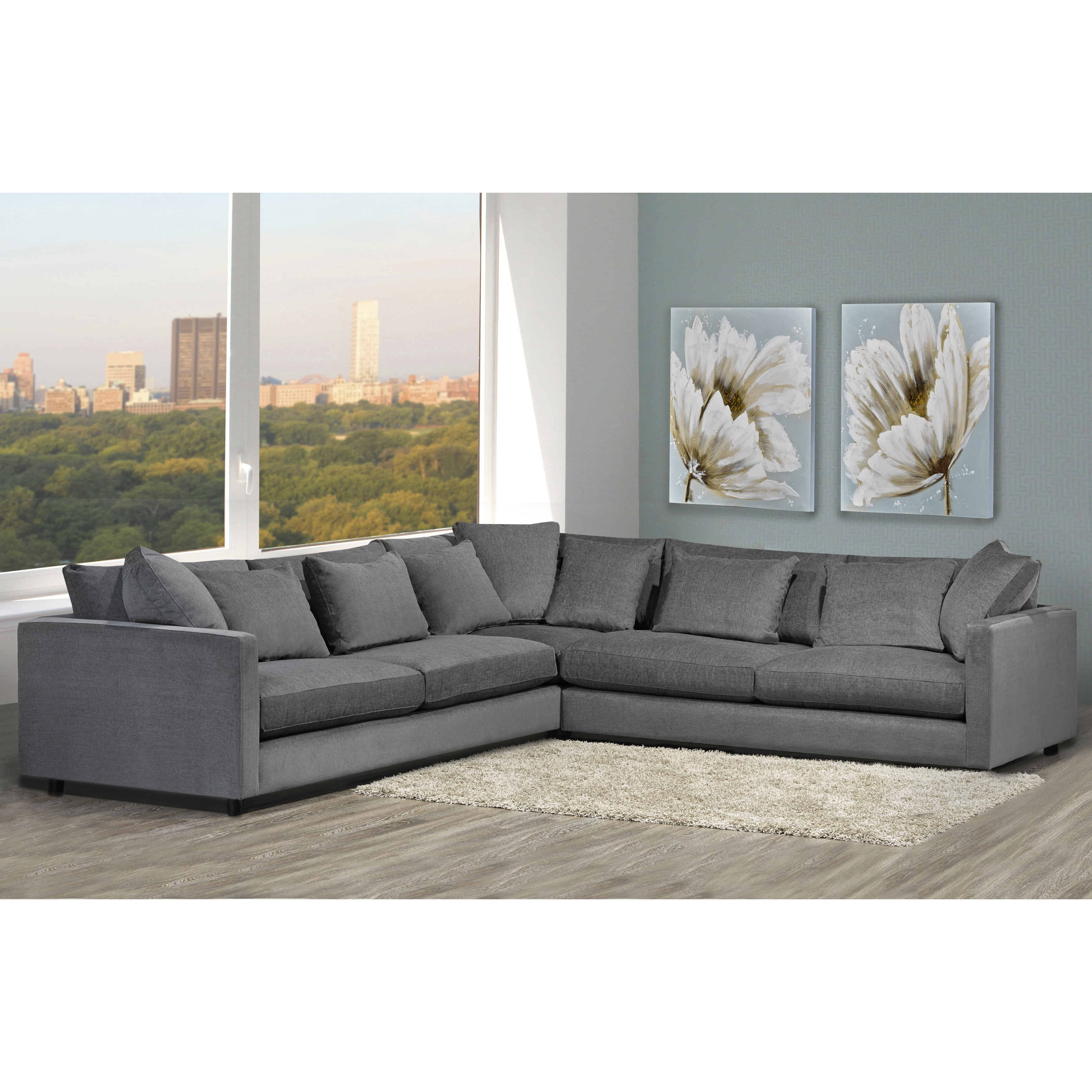 Made To Order Modern Lounge Down Filled Grey Fabric Sectional Sofa In Trendy Down Feather Sectional Sofas (View 13 of 20)