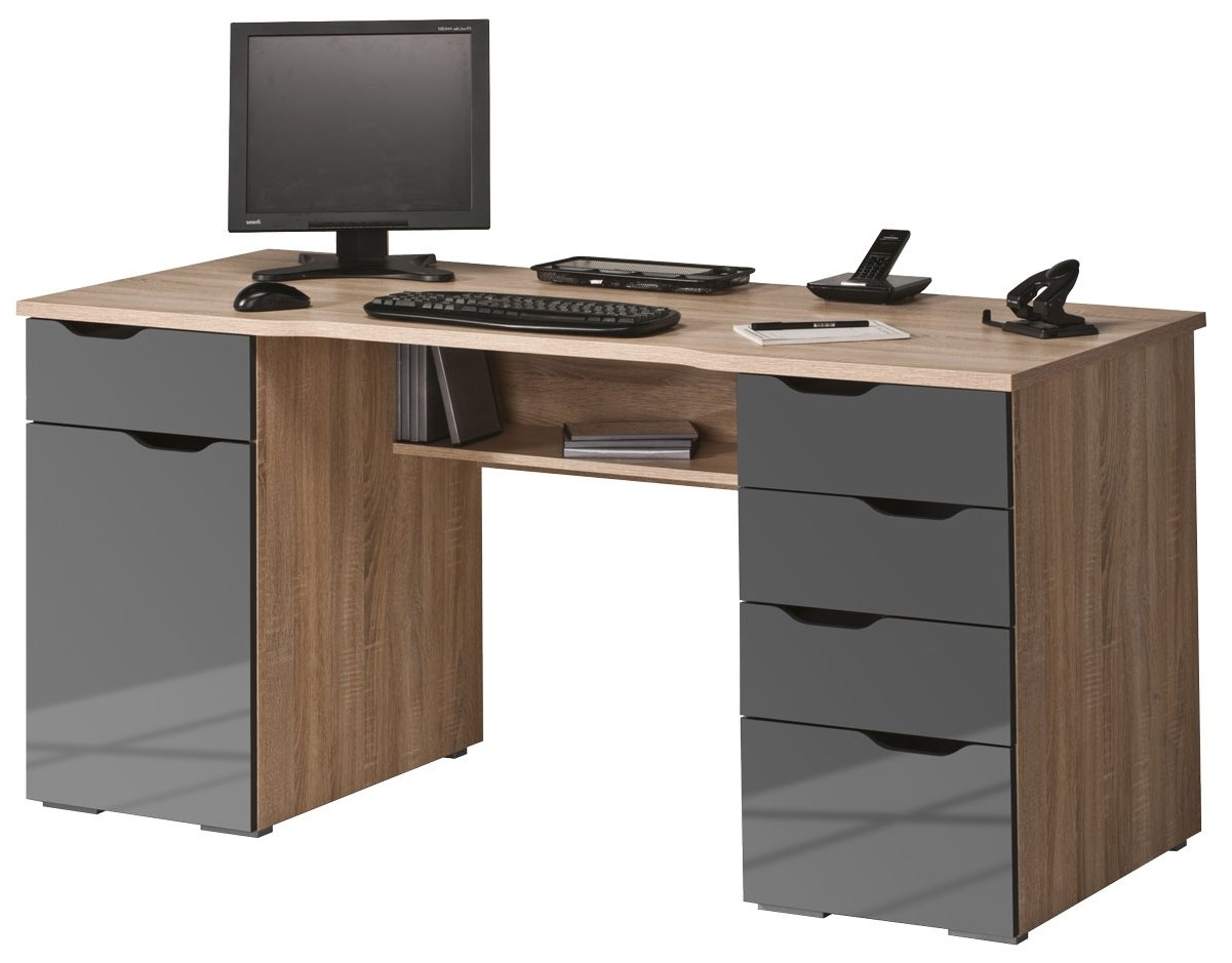 Maja Malborough Oak & Grey Computer Desk With Regard To Popular Grey Computer Desks (View 11 of 20)