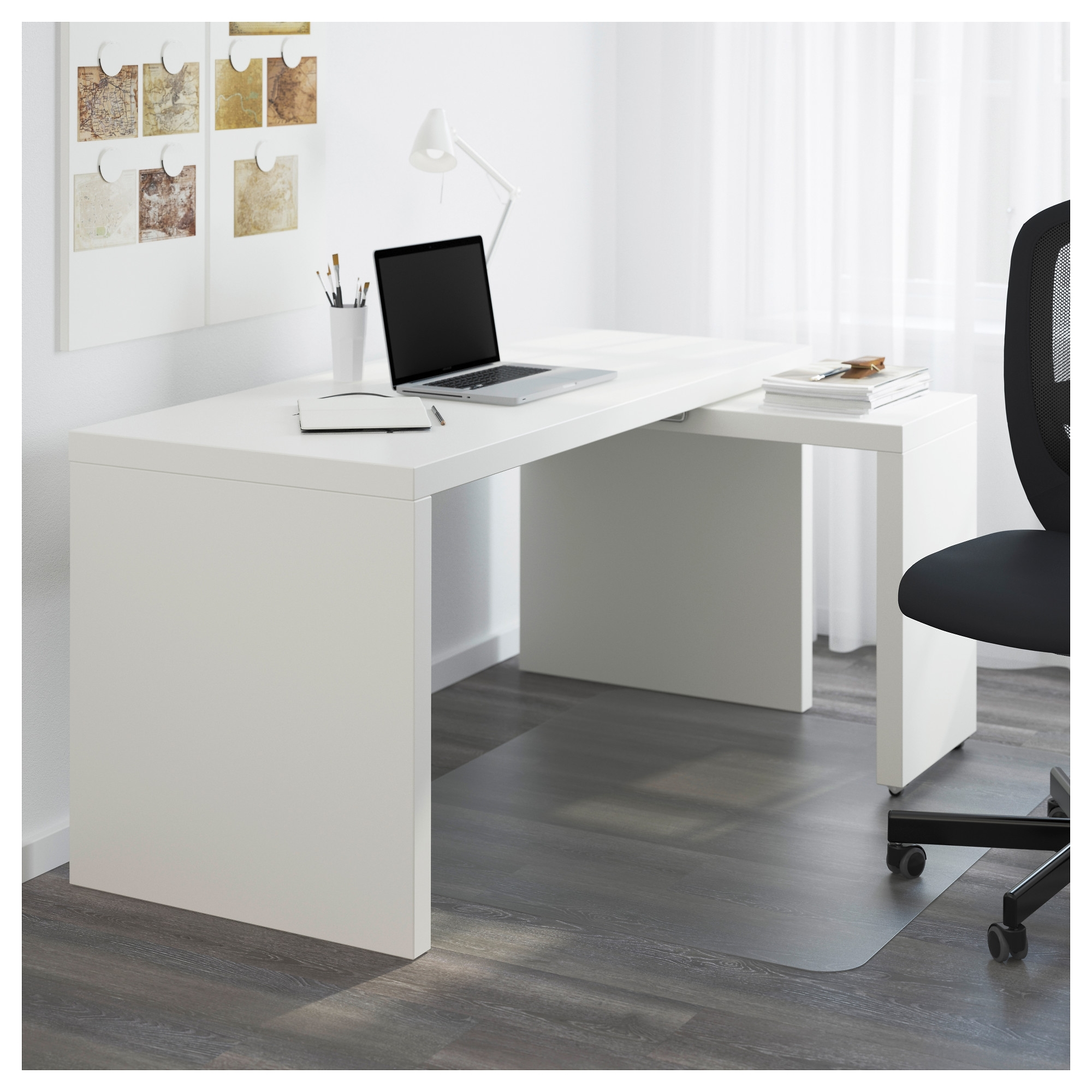 Malm Desk With Pull Out Panel – White – Ikea In Most Popular White Computer Desks (View 2 of 20)