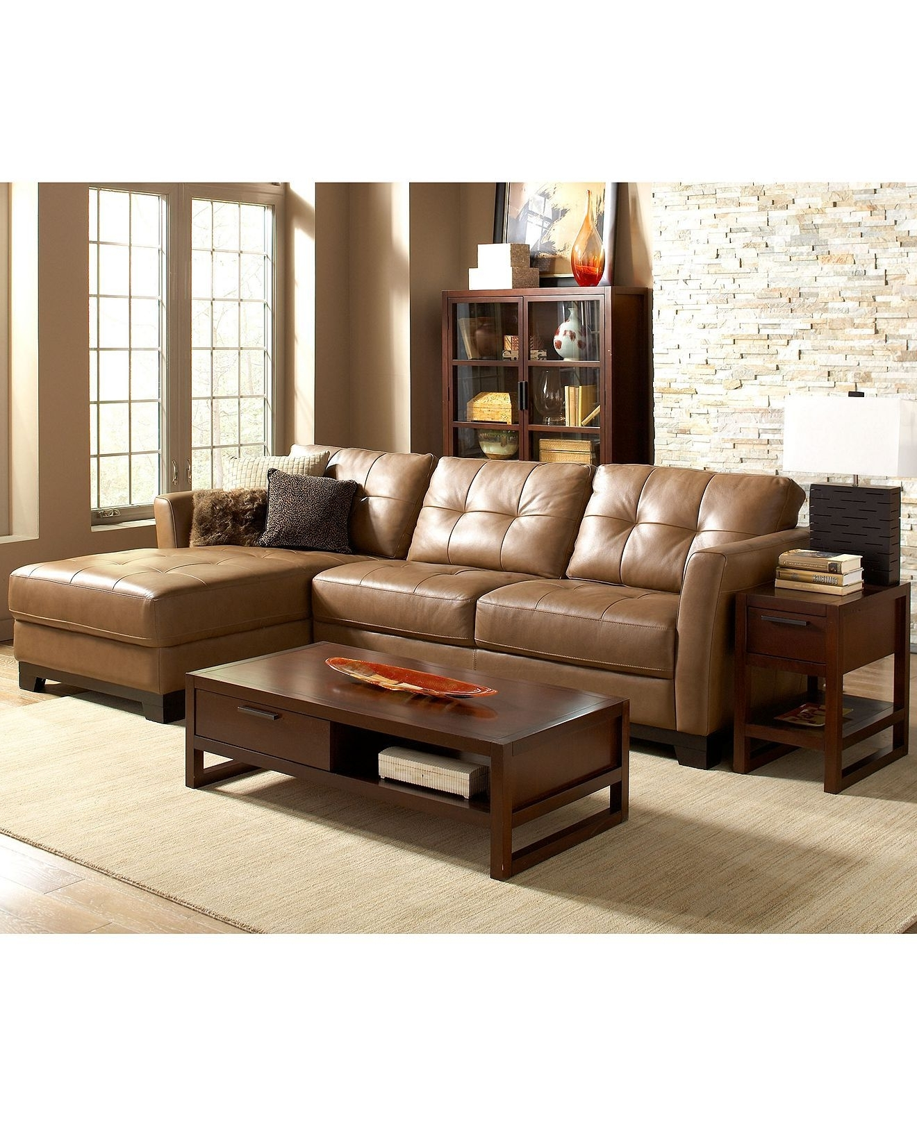 Martino Leather Sectional Living Room Furniture Sets & Pieces Within Latest Economax Sectional Sofas (View 13 of 20)