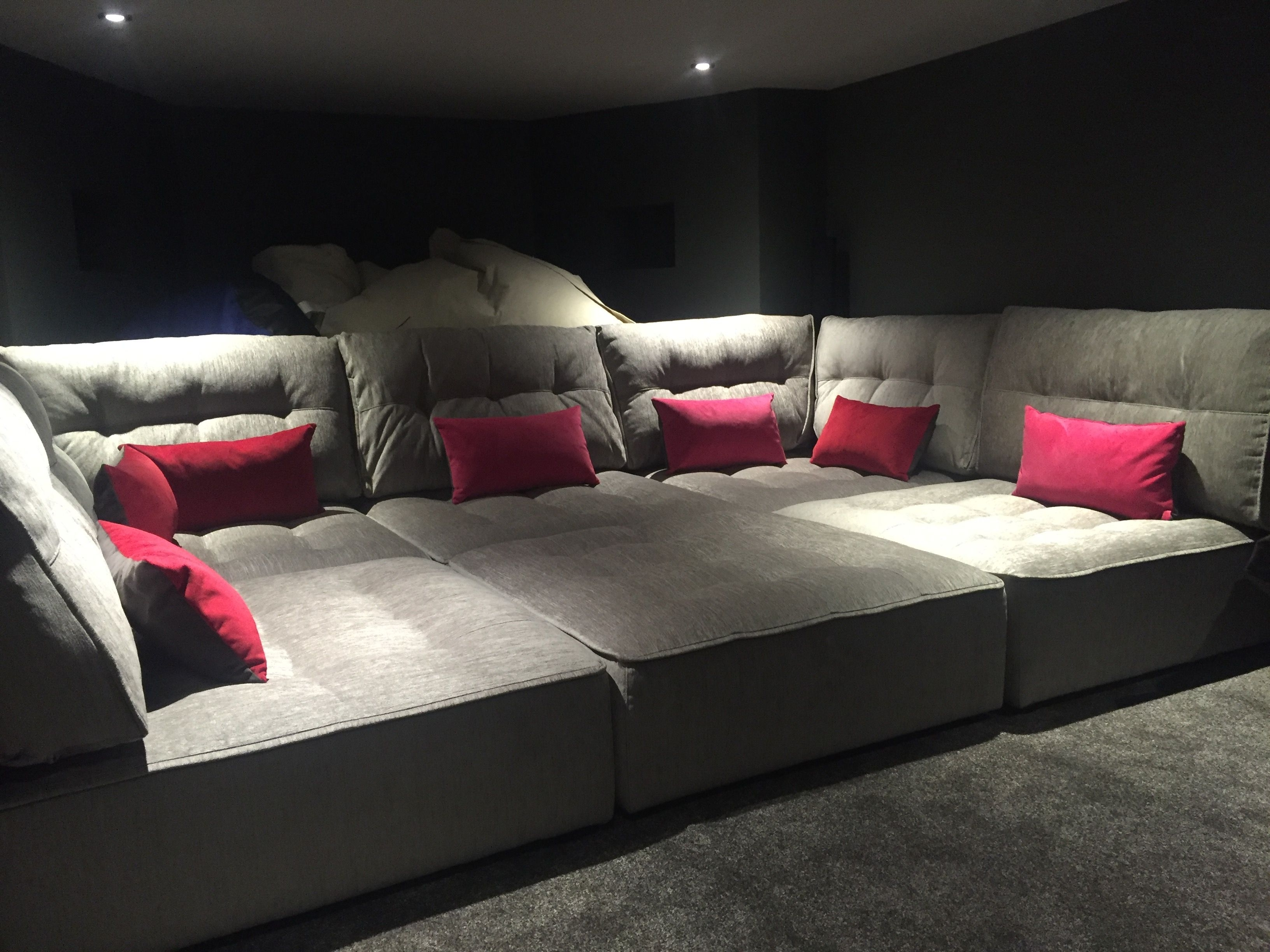 Media Room Sectional Sofas In Trendy Tapas In A Basement Media Room – Perfect For The Family To Chill (View 8 of 20)