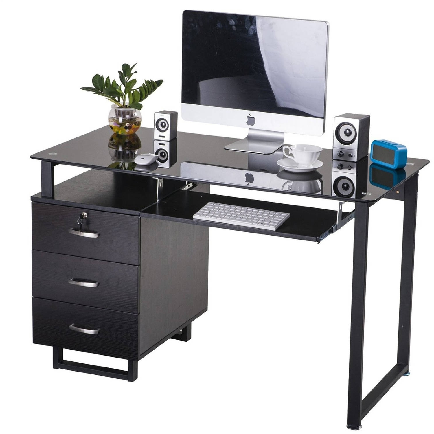 Merax Large Glass Computer Desk Office Desk With Keyboard Tray And Regarding Favorite Computer Desks With Keyboard Tray (View 11 of 20)