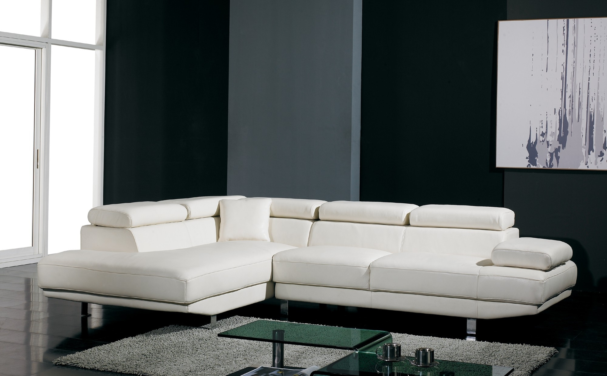 Miami Sectional Sofas Throughout Fashionable Perfect Modern Sectional Sofas With T60 Ultra Modern White Leather (View 10 of 20)
