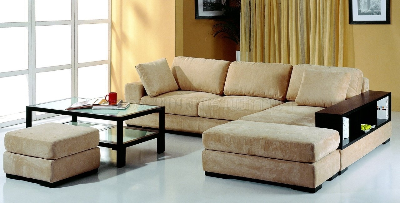 Microfiber Sectional Sofas Regarding Famous Beige Microfiber Sectional Sofa W/2 Ottomans & Bookcase (View 12 of 20)