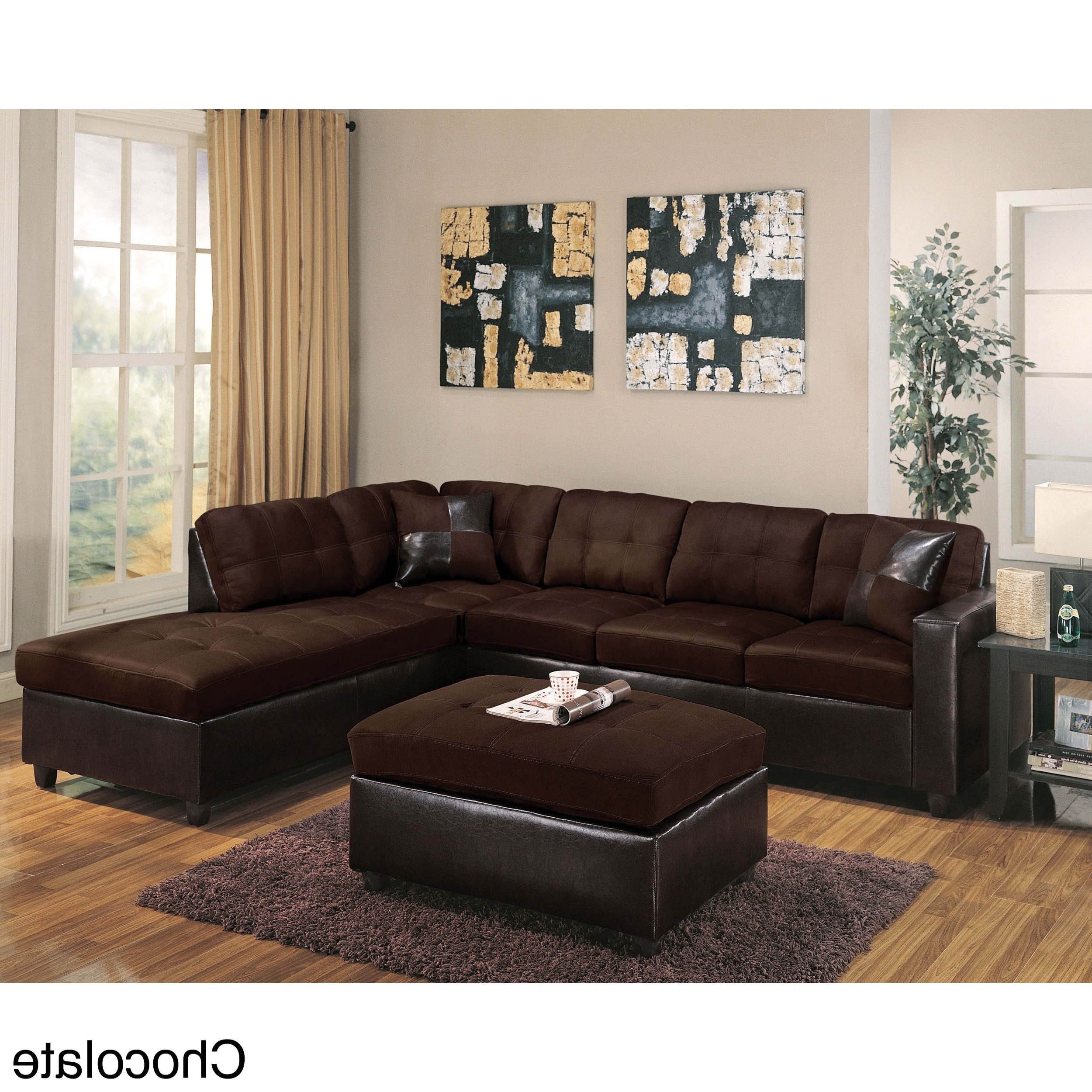 Milano Reversible Sectional Sofa In Chocolate Easy Rider And Inside Well Known Chocolate Sectional Sofas (View 13 of 20)