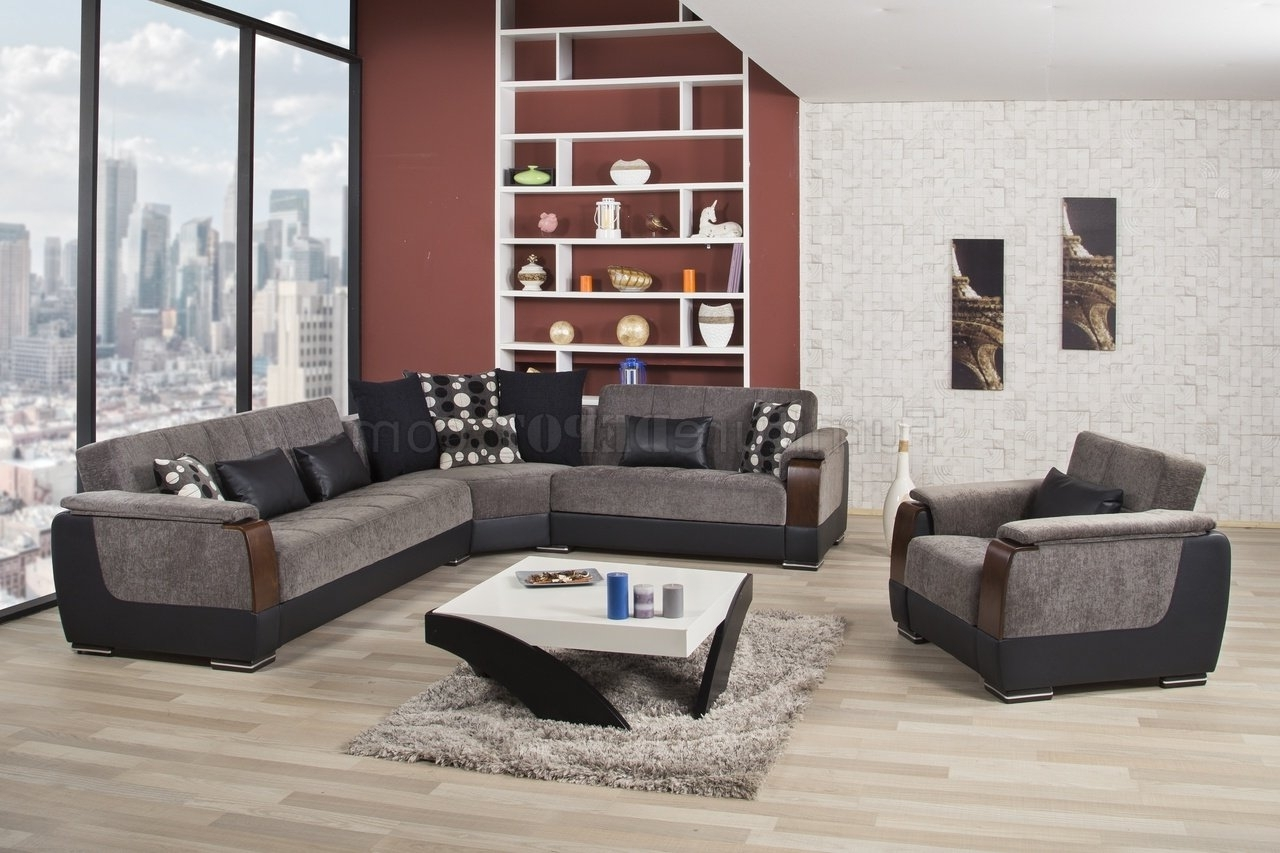 Mn Sectional Sofas In Trendy Modena Sectional Sofa In Gray Fabriccasamode W/options (View 7 of 20)