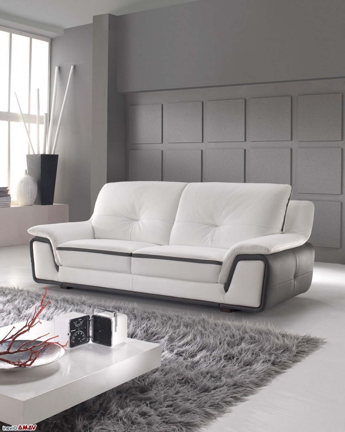 Modern 3 Seater Sofas Inside Most Current Contemporary Sofa In White And Grey Genuine Leather (View 8 of 20)