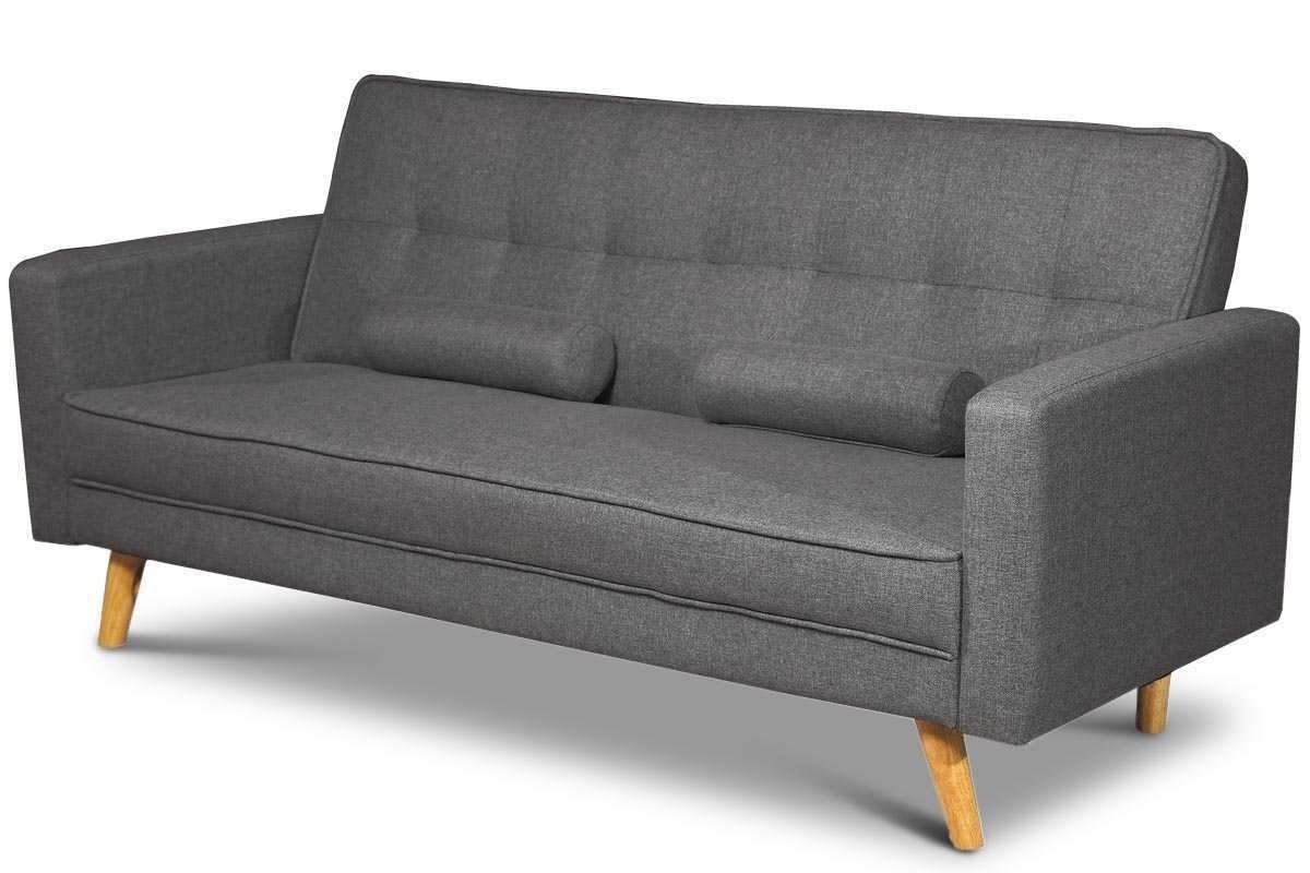 Modern 3 Seater Sofas With Regard To Best And Newest Boston Modern Charcoal Grey Fabric 3 Seater Sofa Bed (View 8 of 20)