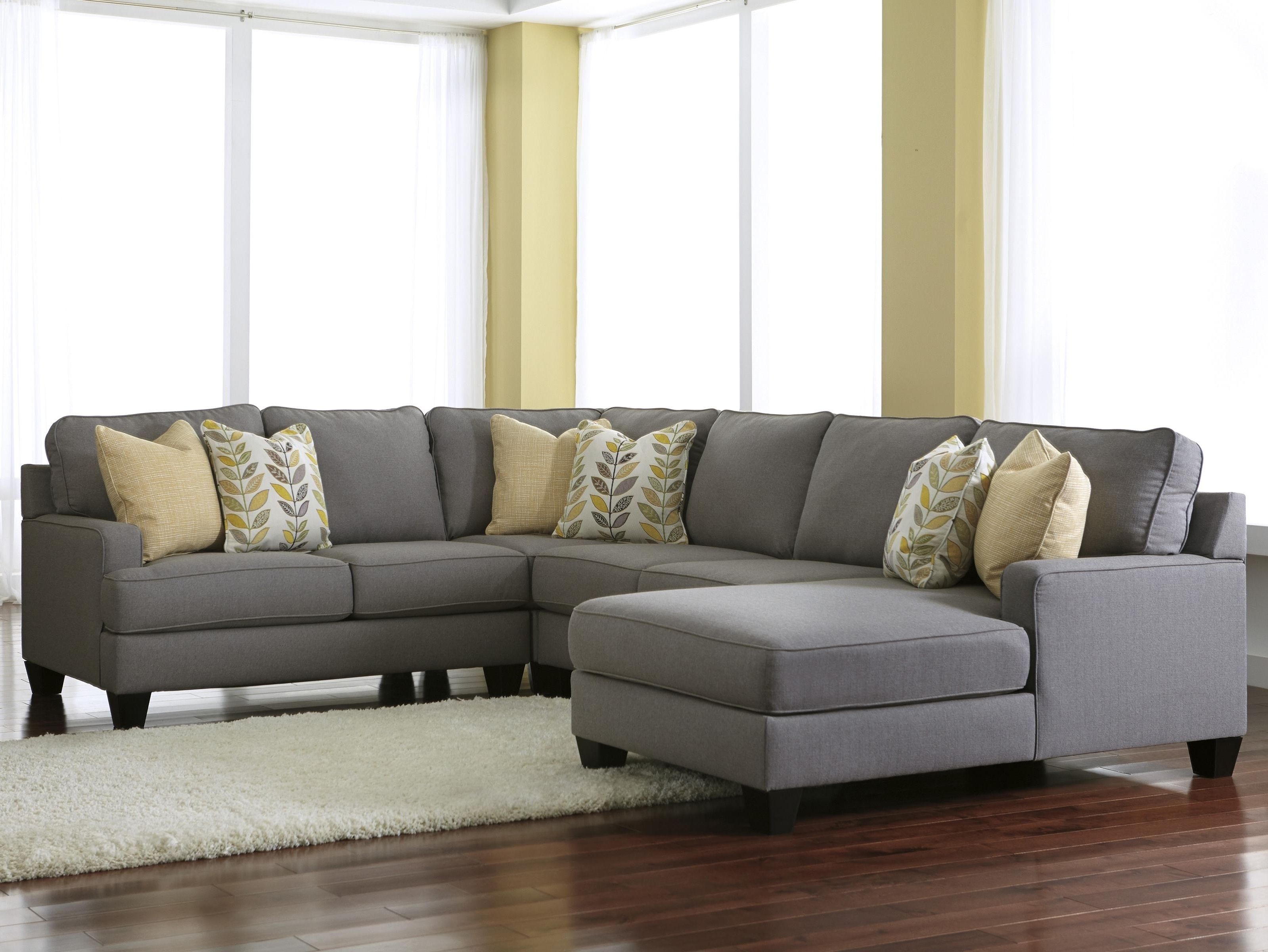 Modern 4 Piece Sectional Sofa With Left Chaise & Reversible Seat Regarding Trendy 2 Seat Sectional Sofas (View 12 of 20)