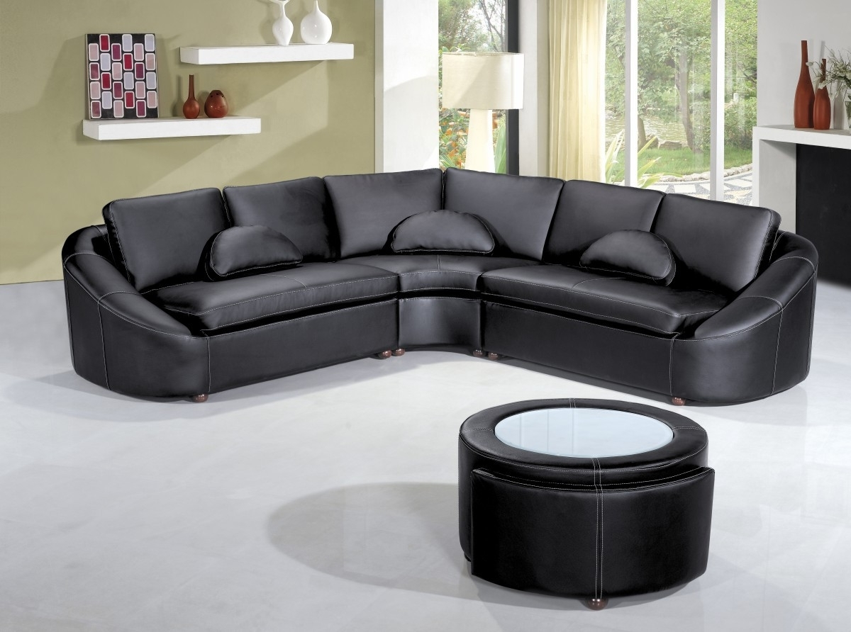 Modern Black Leather Sectional Sofa With Regard To Recent Leather Sectional Sofas (View 12 of 20)