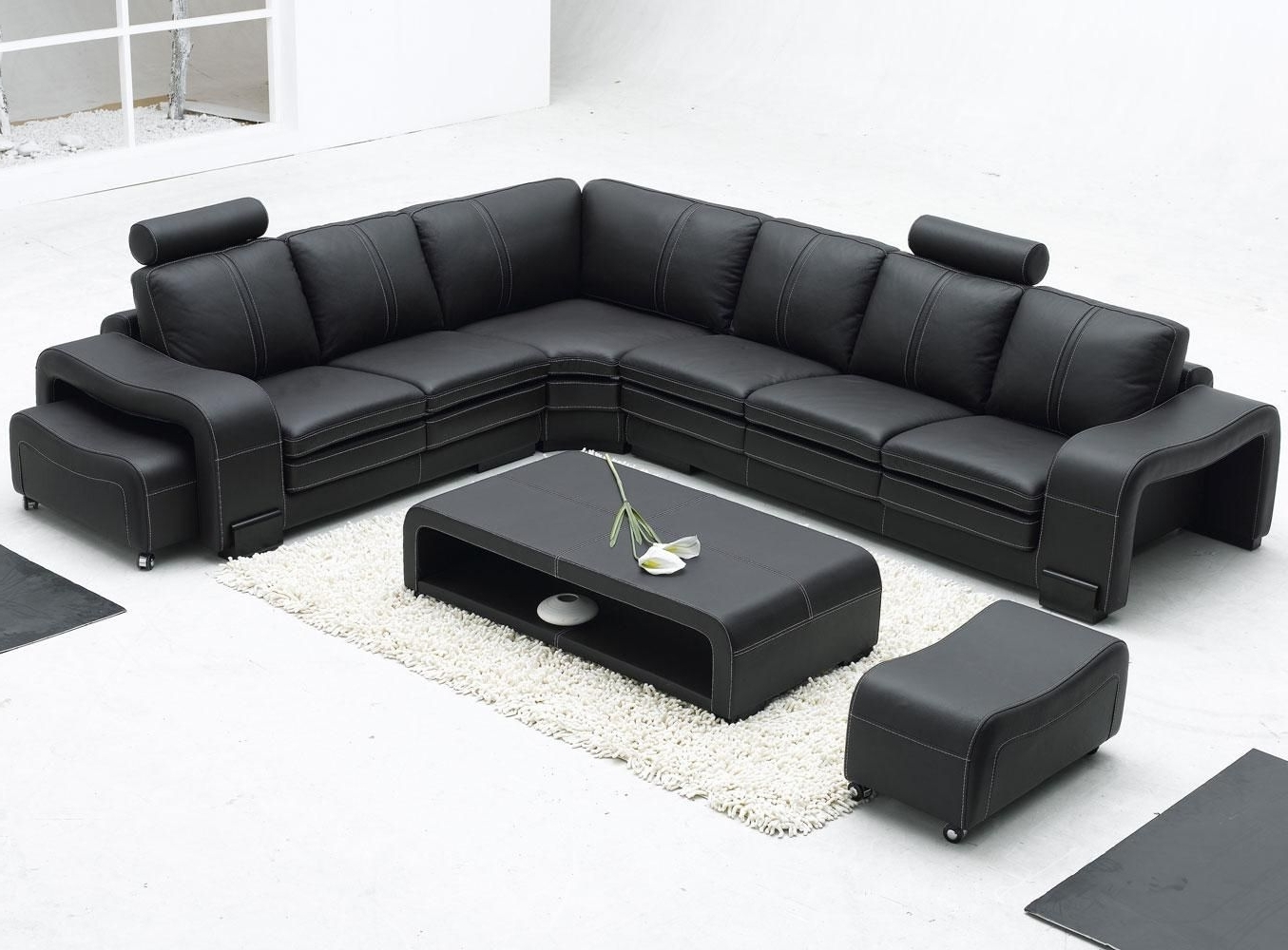 Modern Black Leather Sectional Sofa (Gallery 12 of 20)